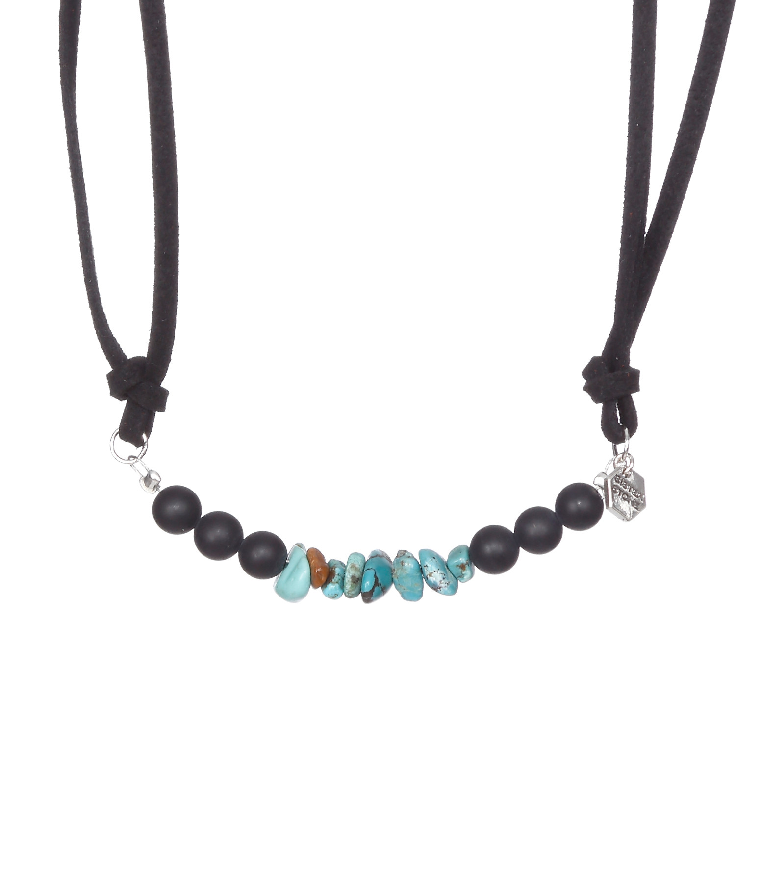 Bracelet Cuir The Pass Noir Onyx Nugget Turquoise - SISTERSTONE
