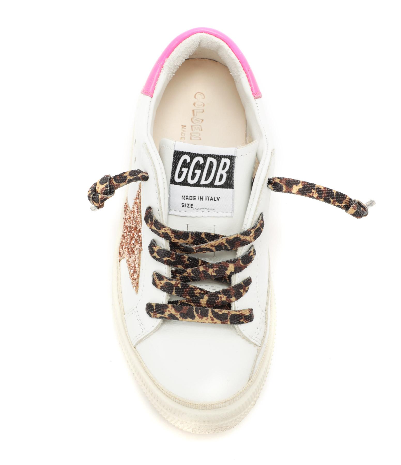 GOLDEN GOOSE - Baskets Bébé May Cuir Glitter Pêche Rose Fluo