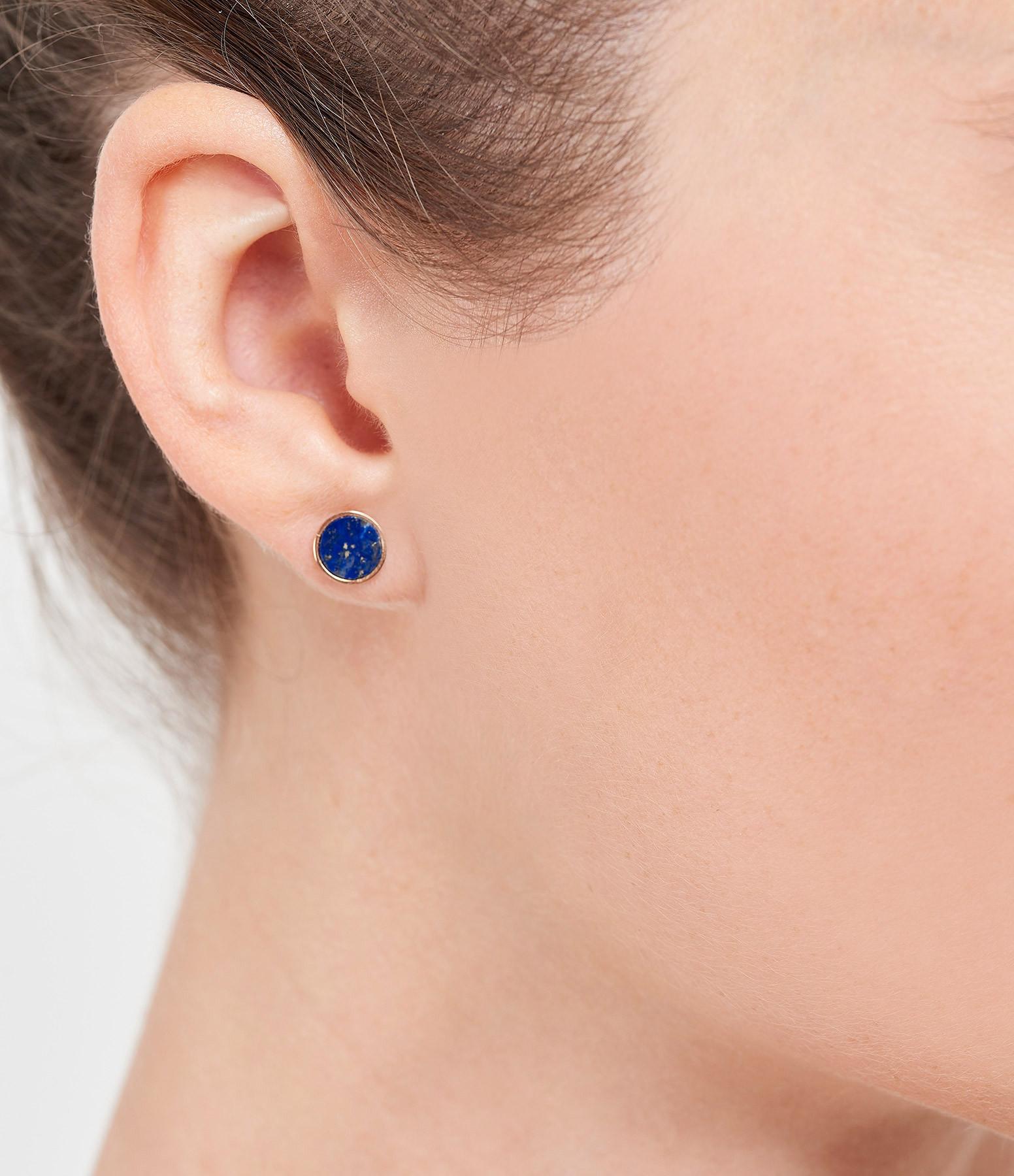 GINETTE NY - Boucle d'oreille Ever Disc Or Rose Lapis Lazuli (vendue à l'unité)