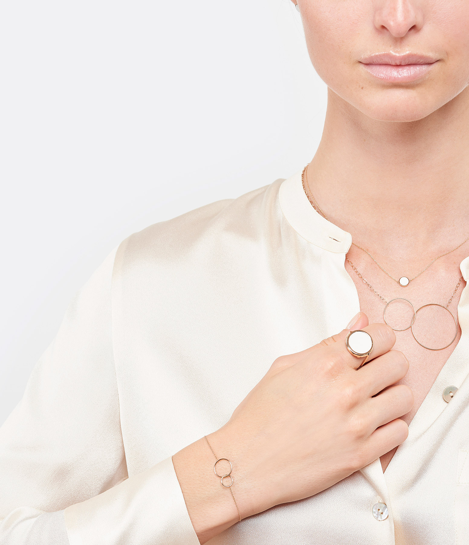 GINETTE NY - Collier Ever Mini Disc Or Rose Agate Blanche