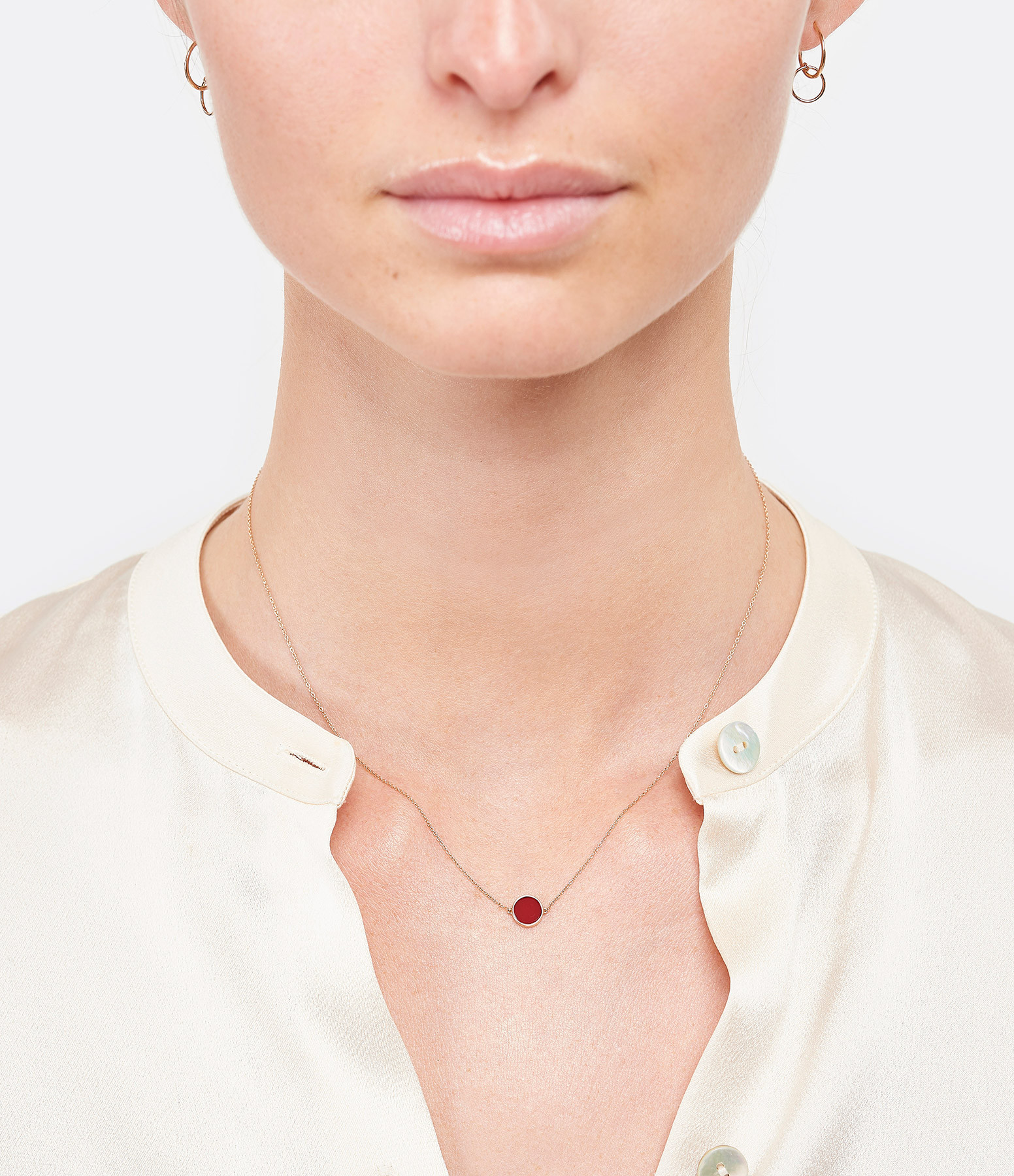 GINETTE NY - Collier Ever Mini Disc Or Rose Corail