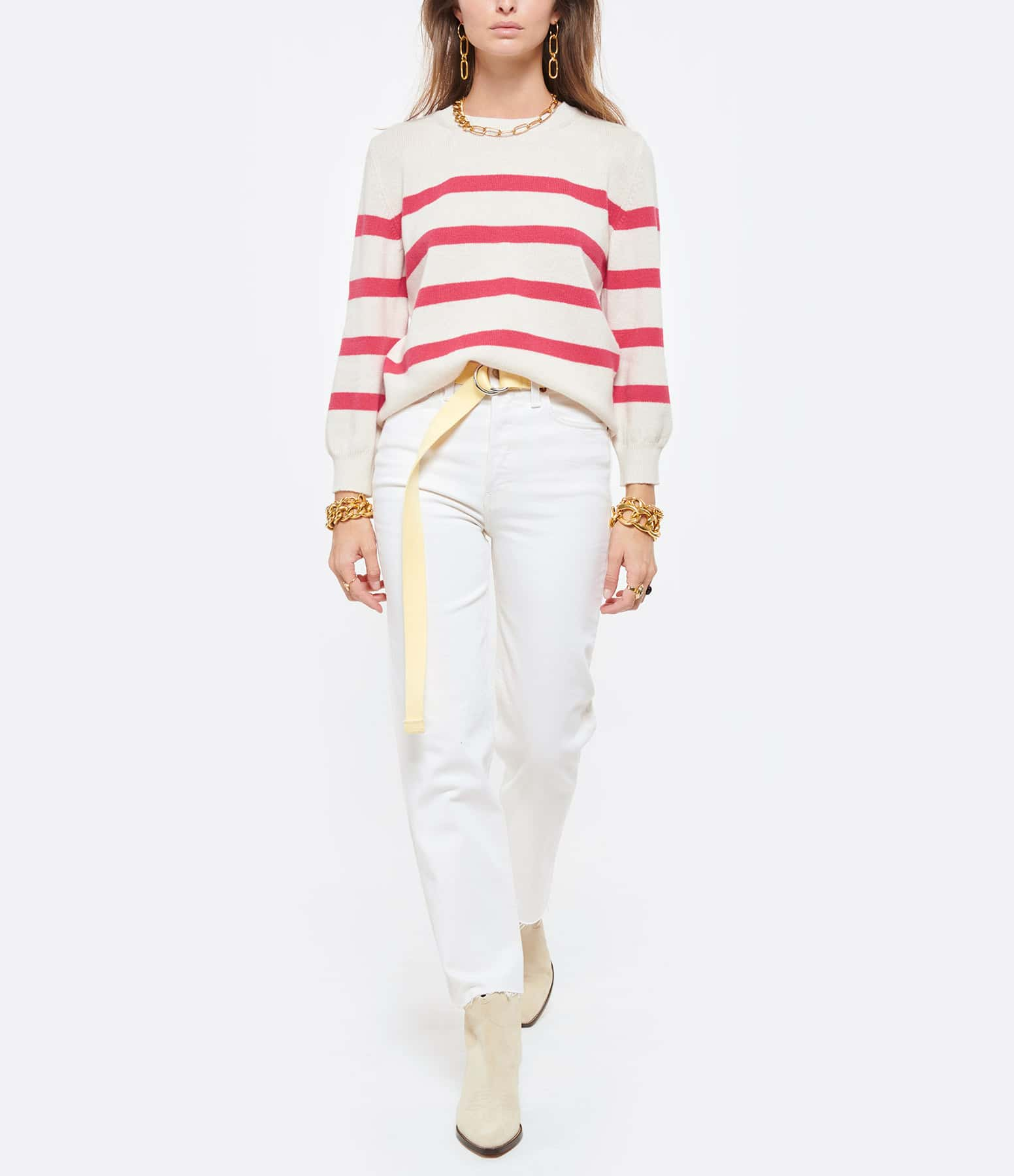A.P.C. - Pull Lizzy Laine Rayures Écru