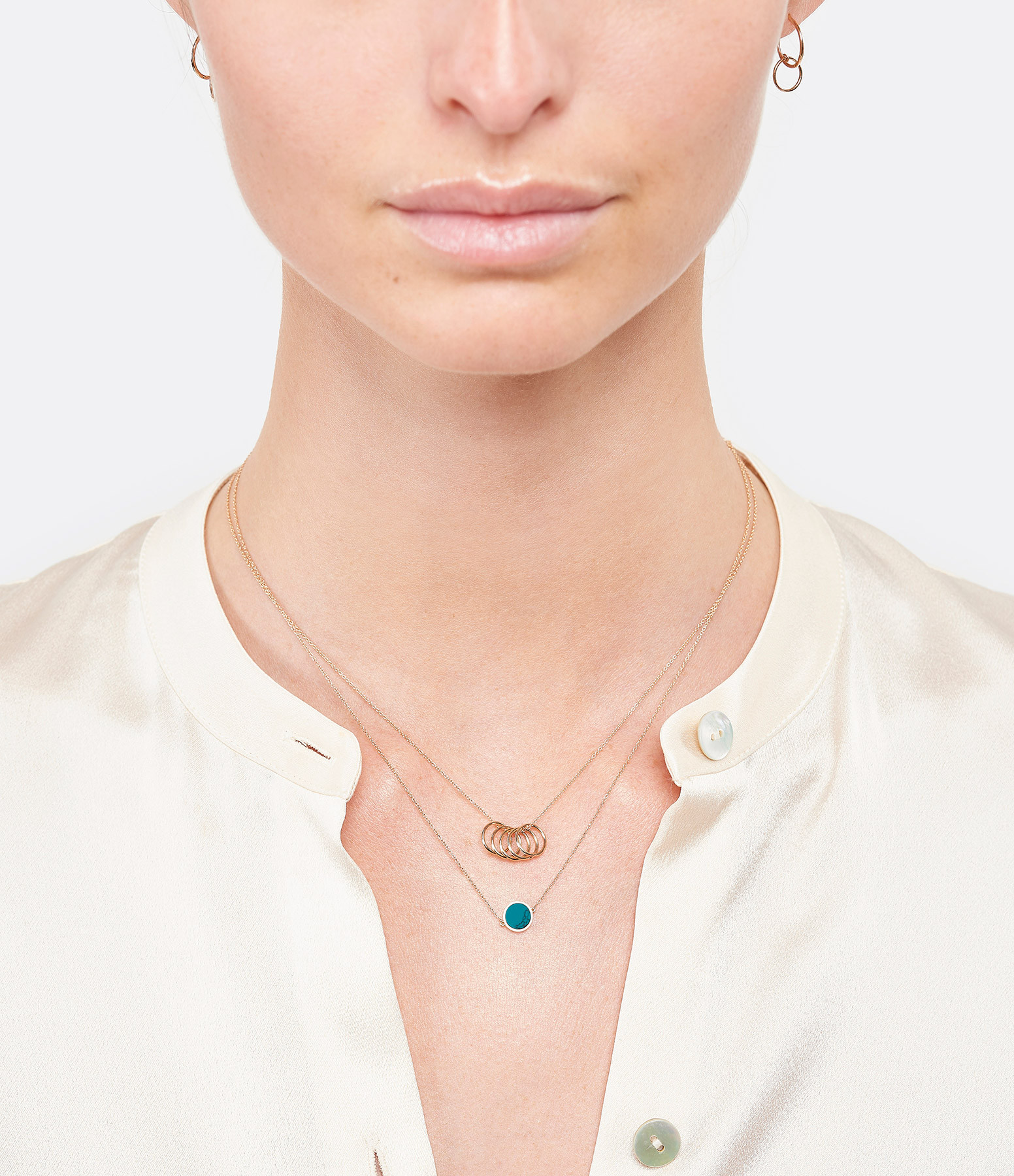 GINETTE NY - Collier Tiny 5 Cercles Or Rose