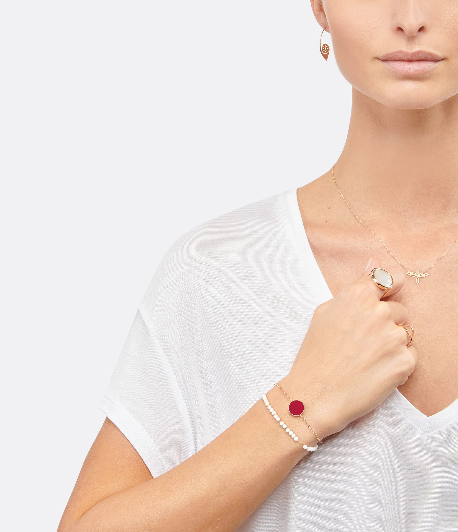 GINETTE NY - Bracelet Ever Disc Or Rose Corail