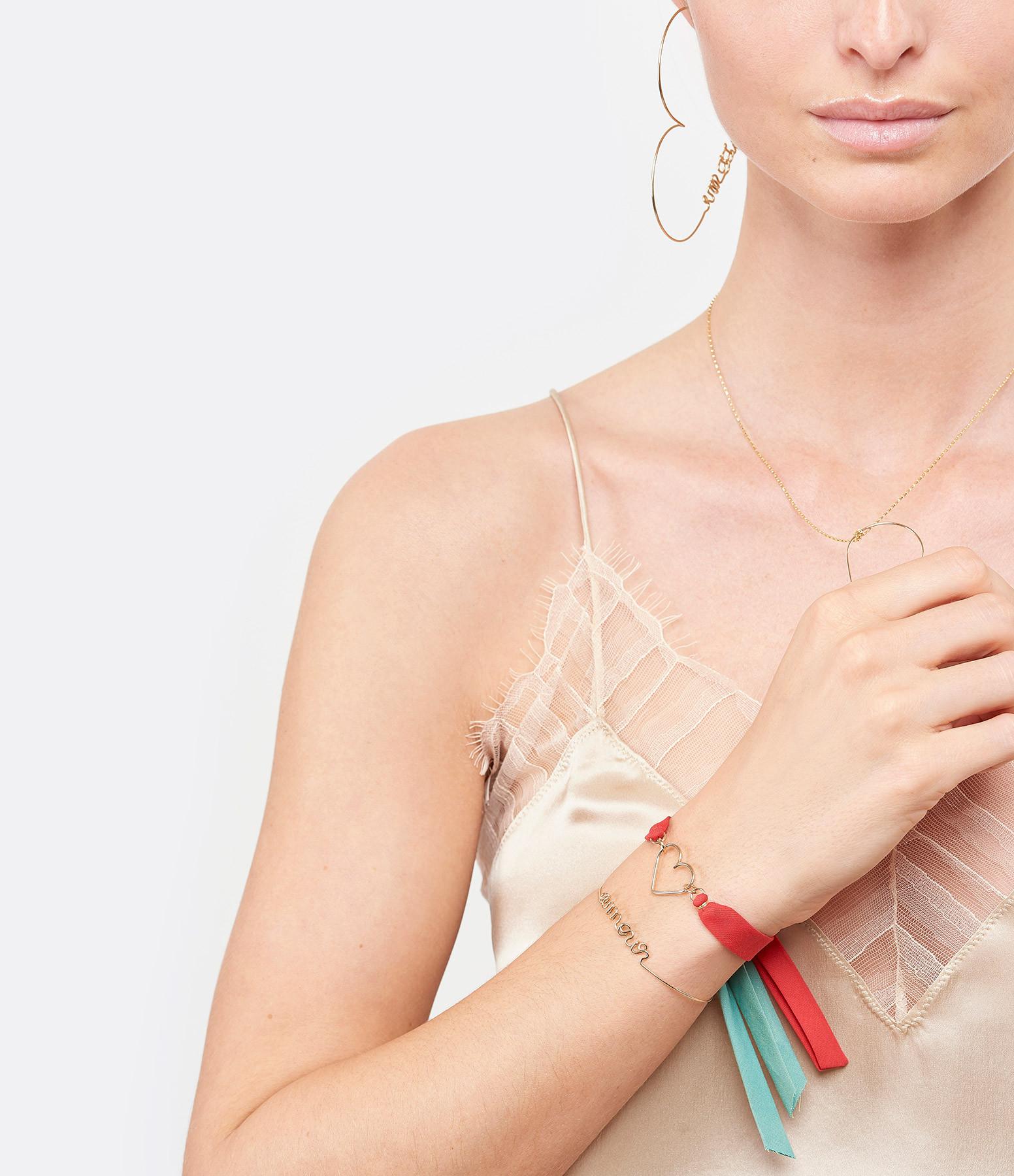 ATELIER PAULIN - Bracelet Ruban Rouge Coeur Gold Filled 14K