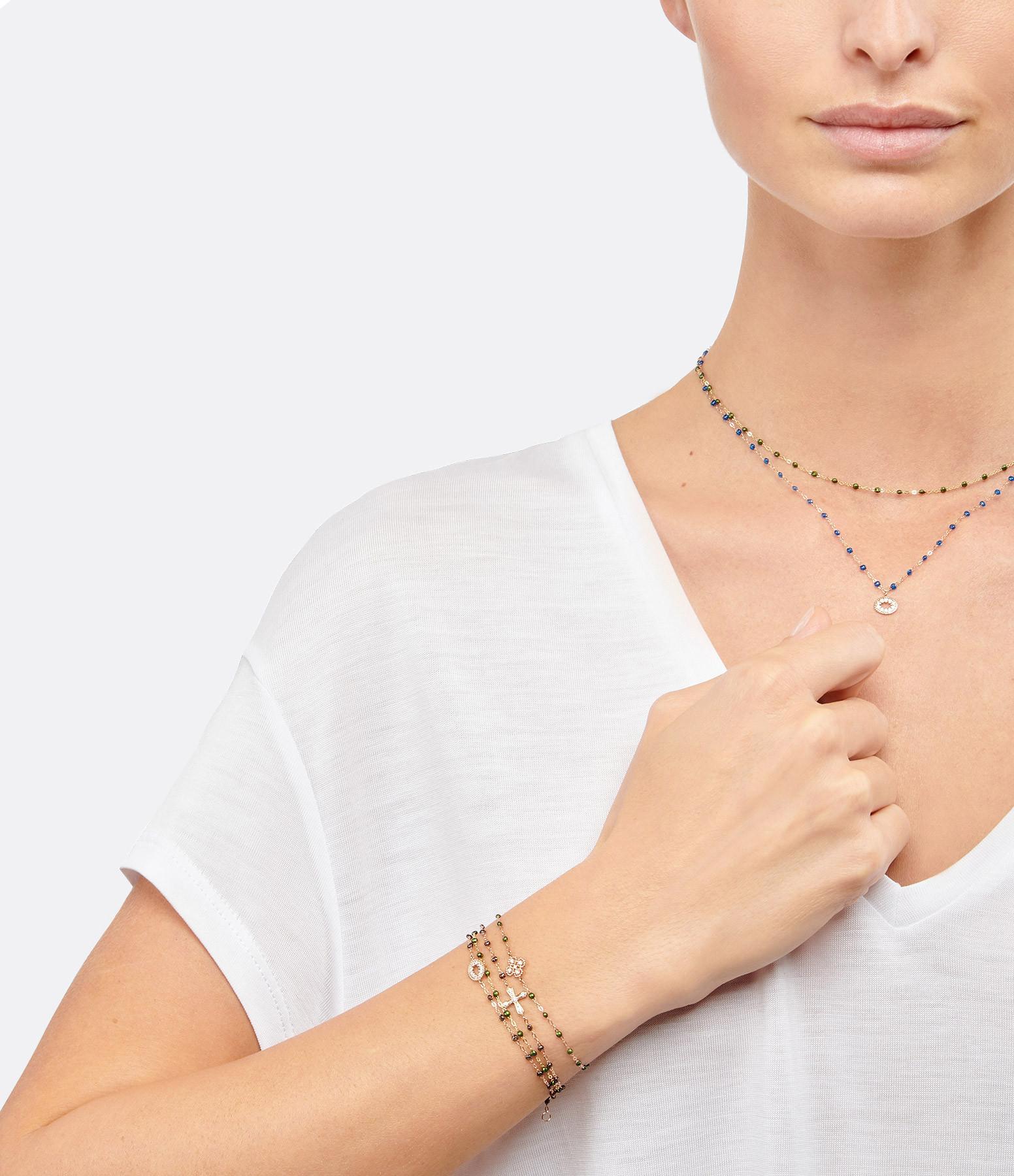 GIGI CLOZEAU - Bracelet Résine Croix Vintage Diamants Or gris