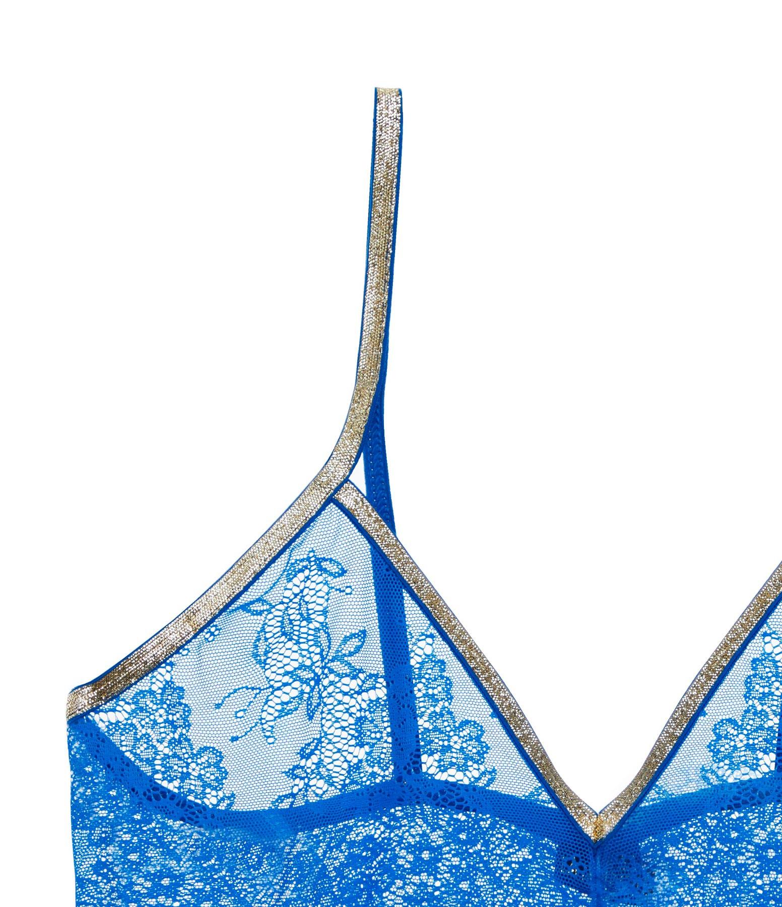 LA NOUVELLE - Brassière Georgia Dentelle Bleu Imperial