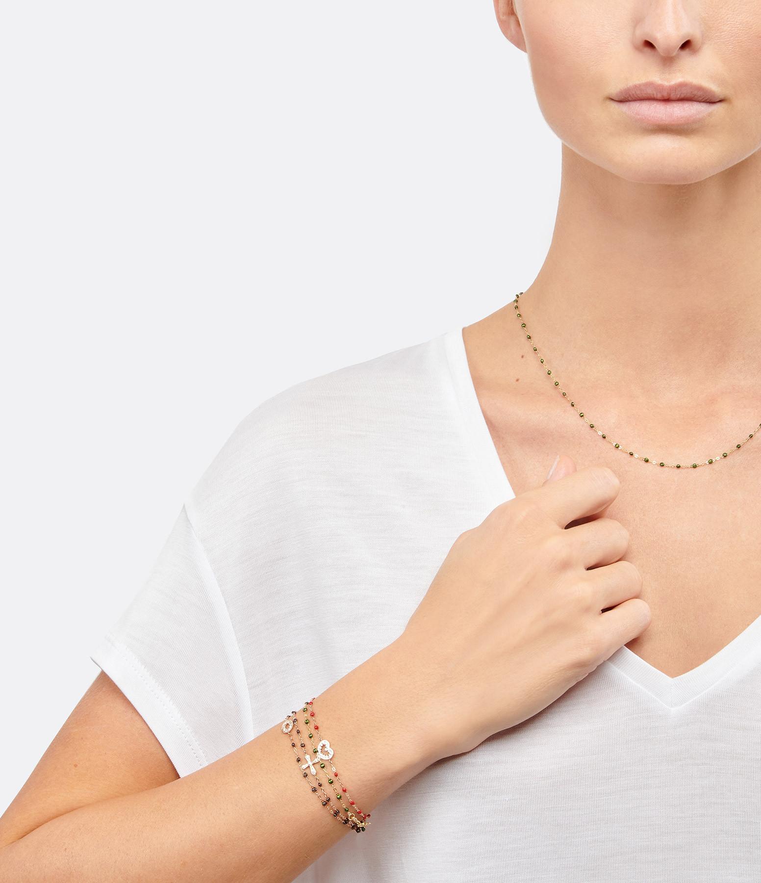 GIGI CLOZEAU - Bracelet Résine Croix Vintage Diamants Or jaune