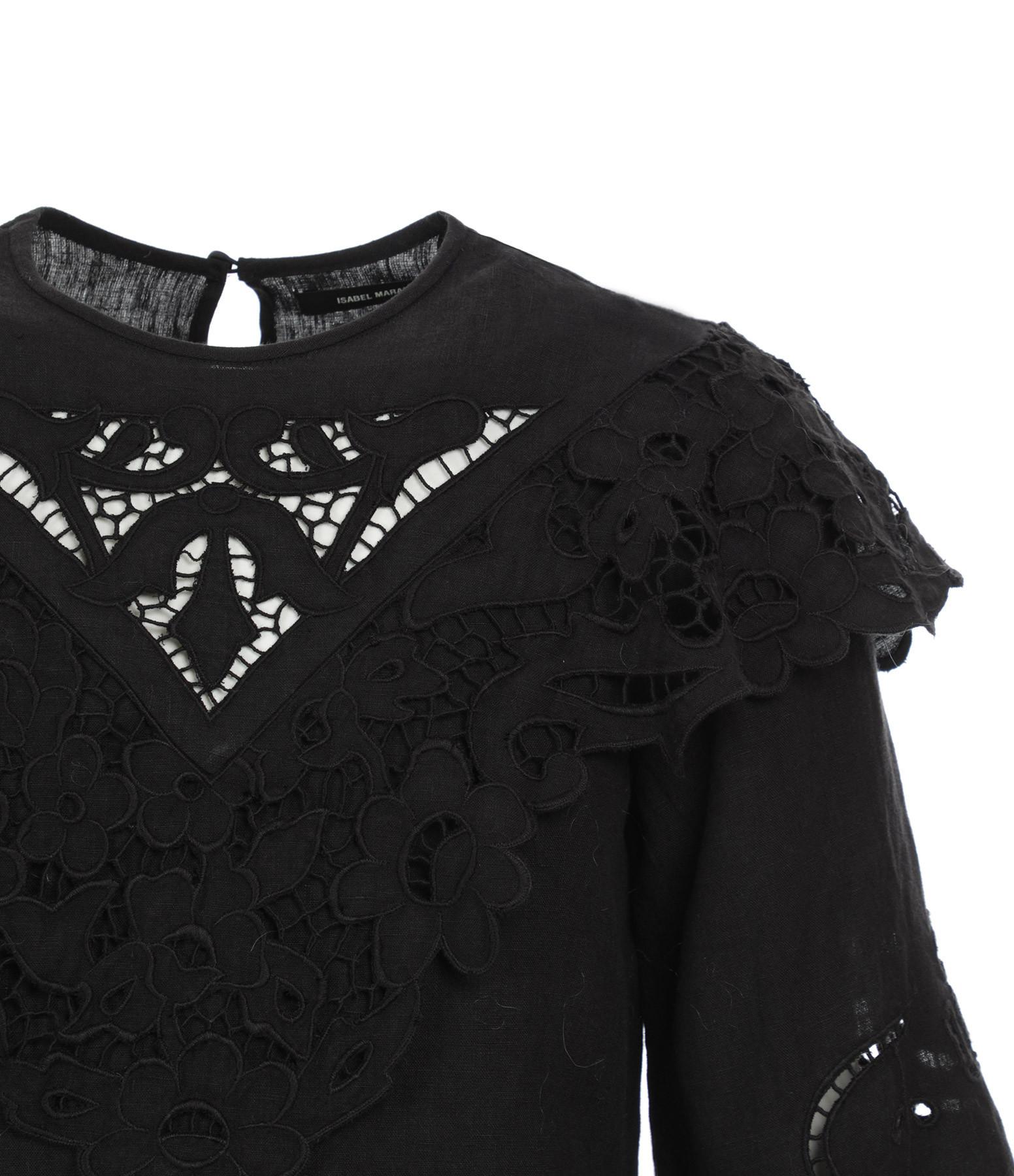 ISABEL MARANT - Blouse Eloine Coton Noir