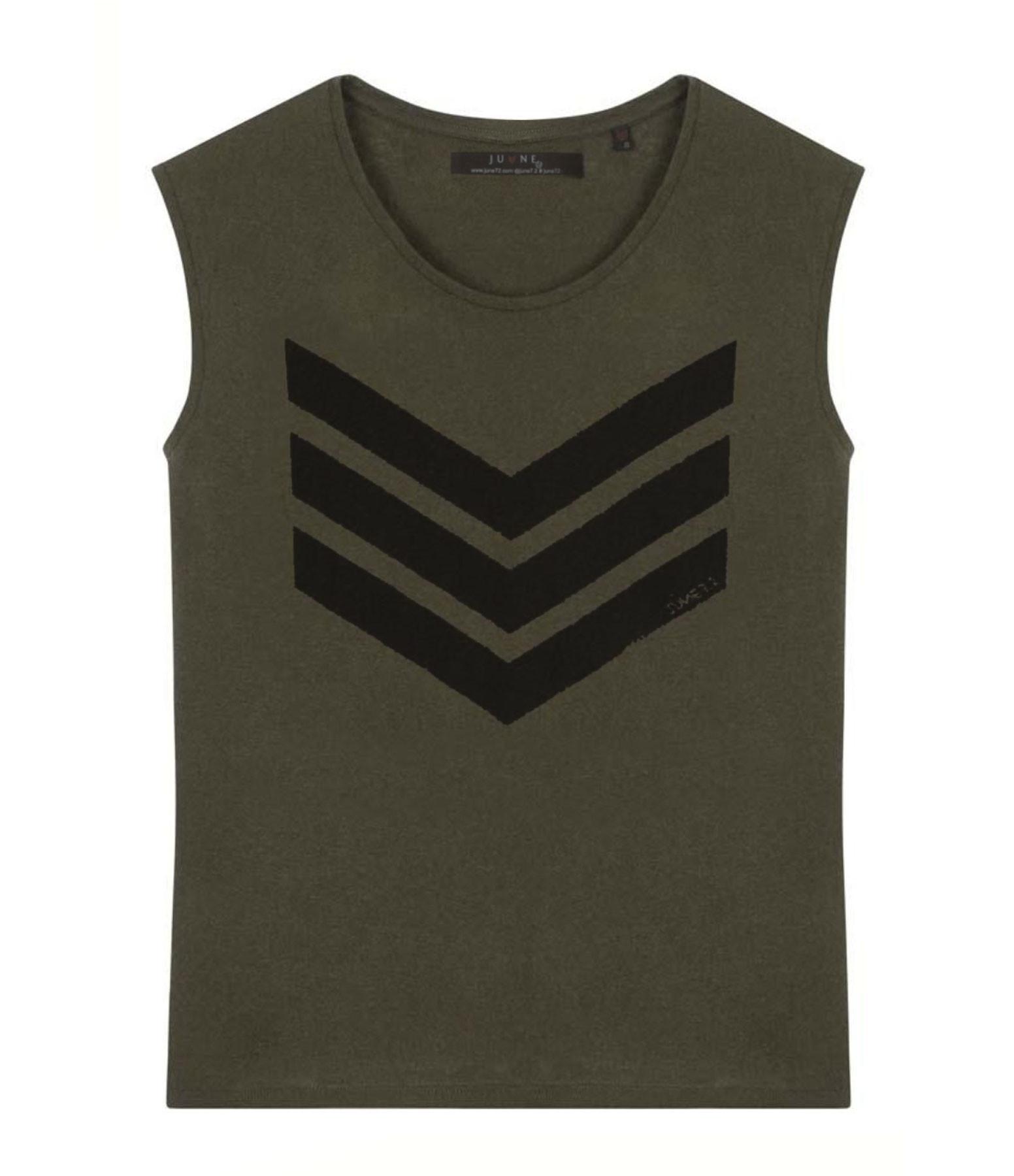 JUNE 7.2 - Tee-shirt Hayden Coton Lin Kaki Logo Noir
