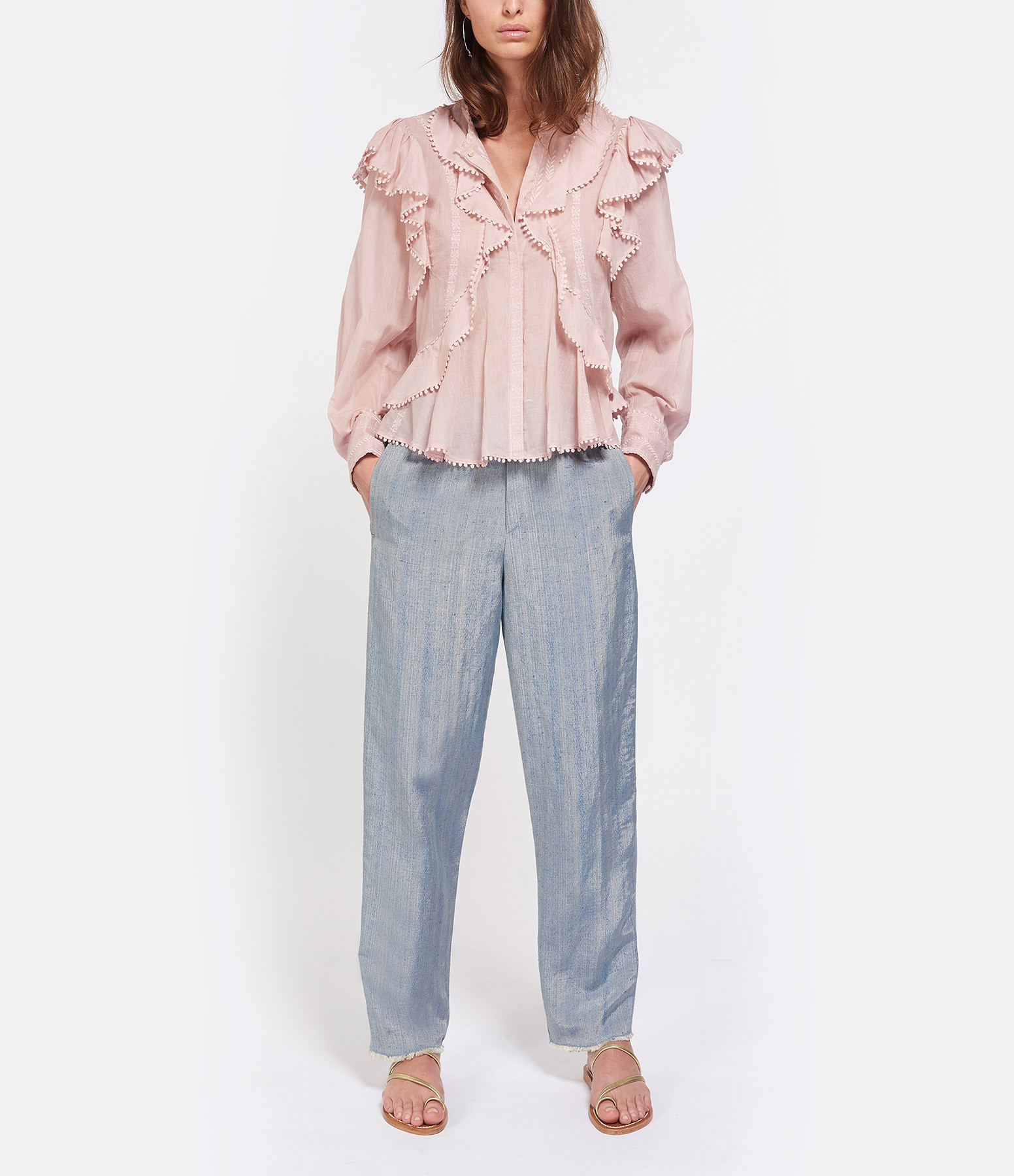 FORTE_FORTE - Pantalon Irisé Bleu Celeste