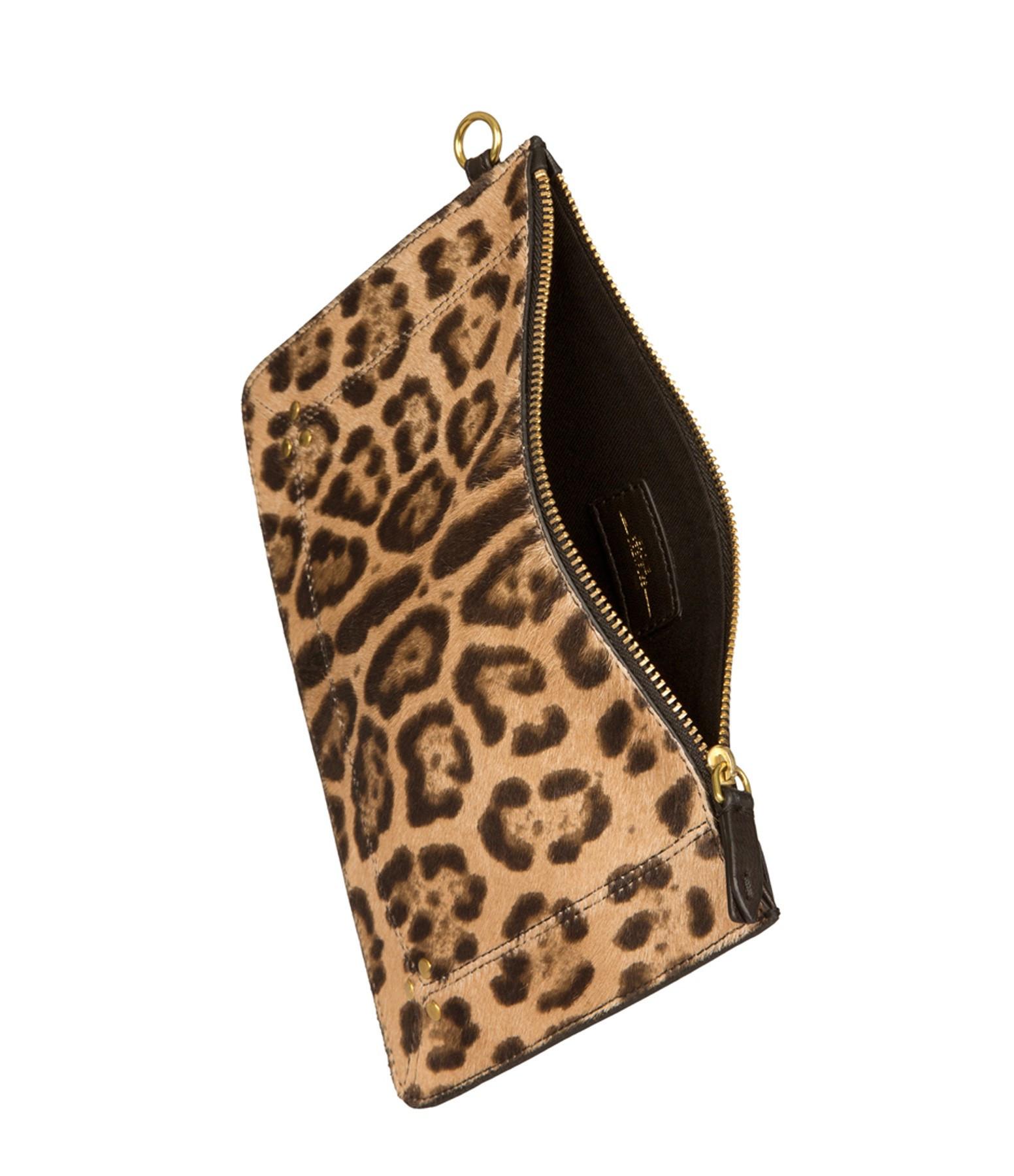 JEROME DREYFUSS - Pochette Popoche M Veau Agneau Leopard Sauvage