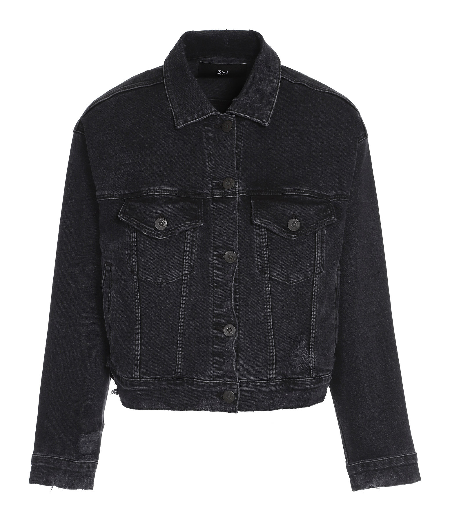 3x1 - Veste Destroy Oversized Denim Noir