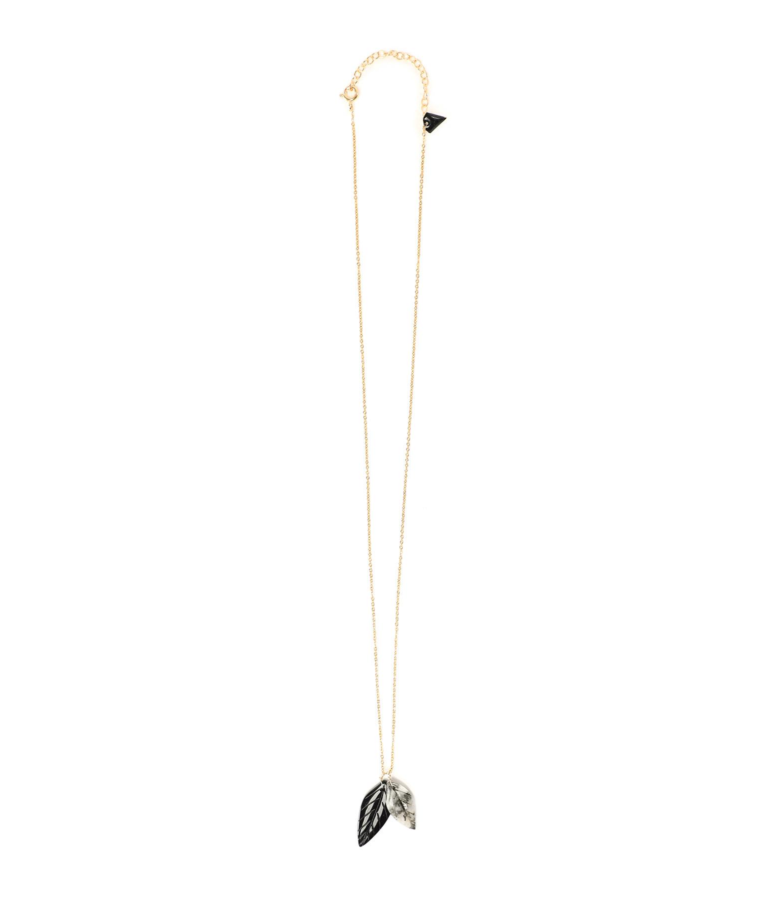 MON PRECIEUX GEM - Collier Feuille Onyx Calcédoine, Exclusivité Lulli