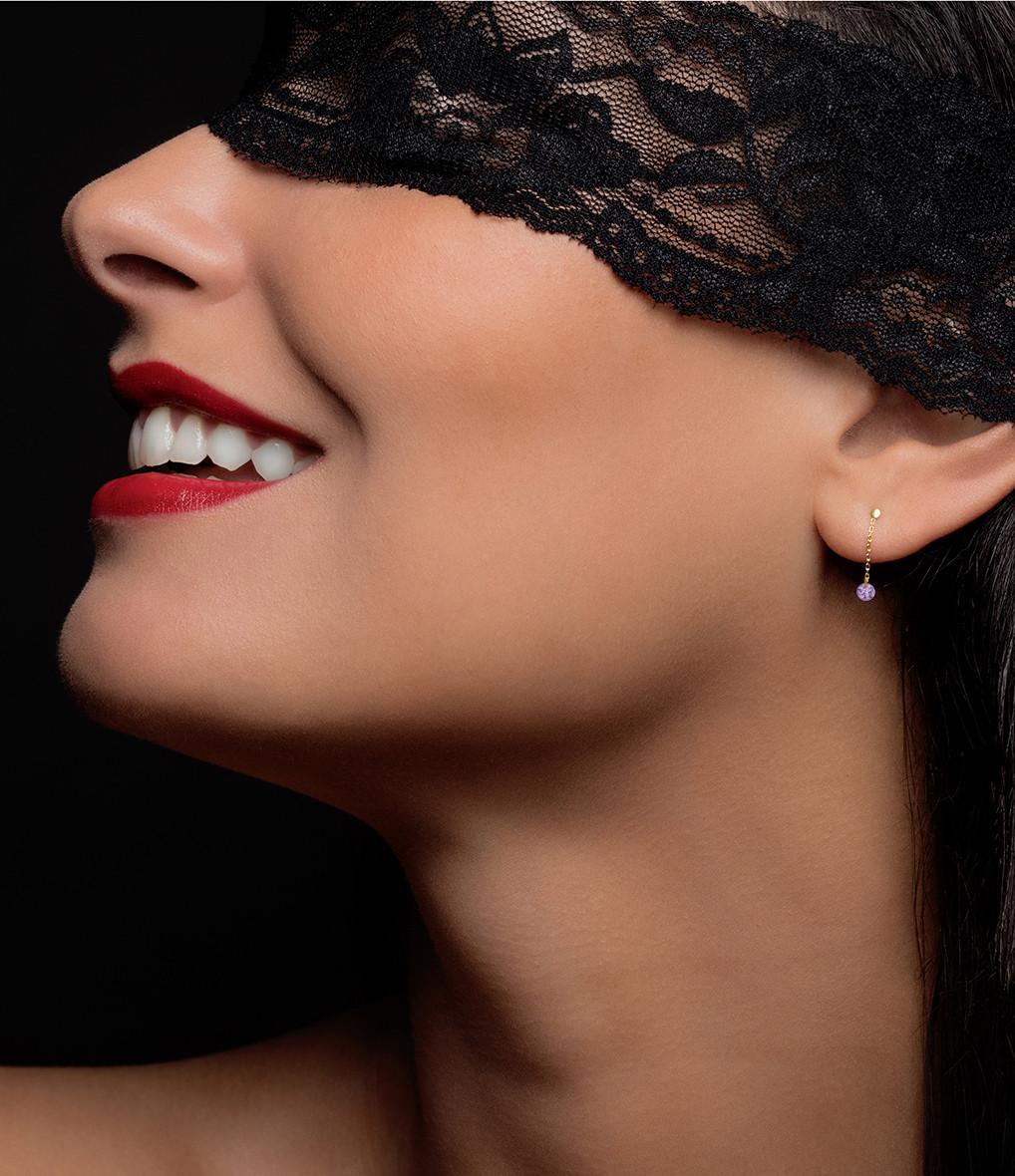 LA BRUNE & LA BLONDE - Boucles d'oreilles Confetti Améthyste Or Rose