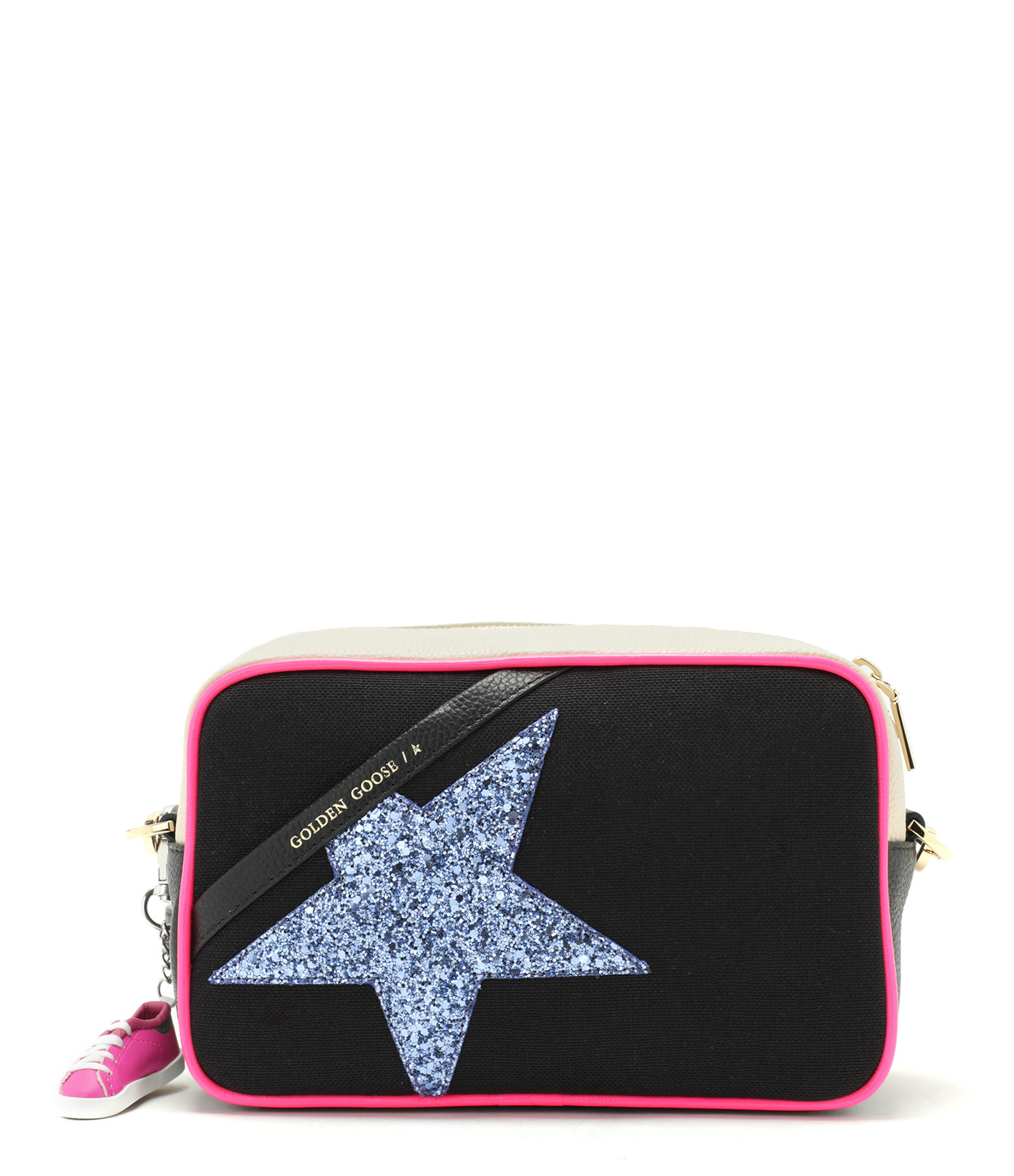 GOLDEN GOOSE - Sac Star Cuir Canvas Glitter Violet Noir