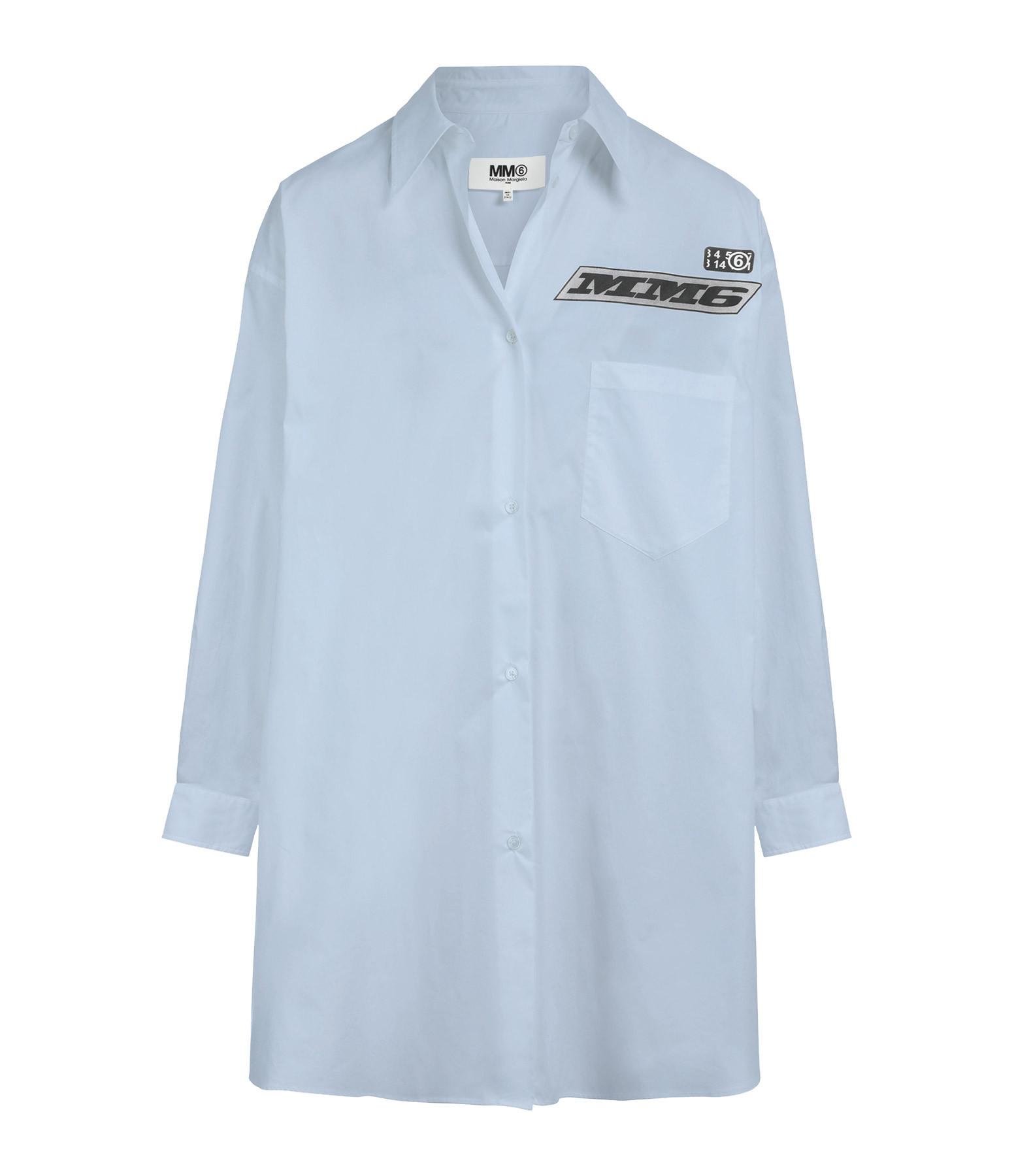 MM6 MAISON MARGIELA - Robe Chemise Oversize Coton Popeline Bleu Ciel