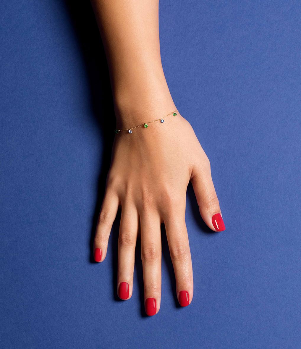 LA BRUNE & LA BLONDE - Bracelet Confetti 7 Rio Saphirs Bleus Tsavorites Or Jaune