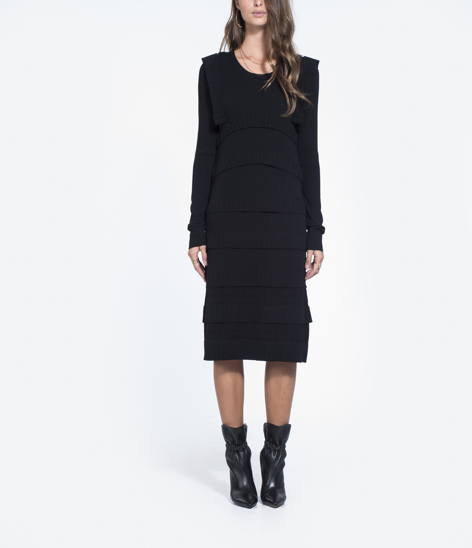 CARVEN - Robe Volants Noir