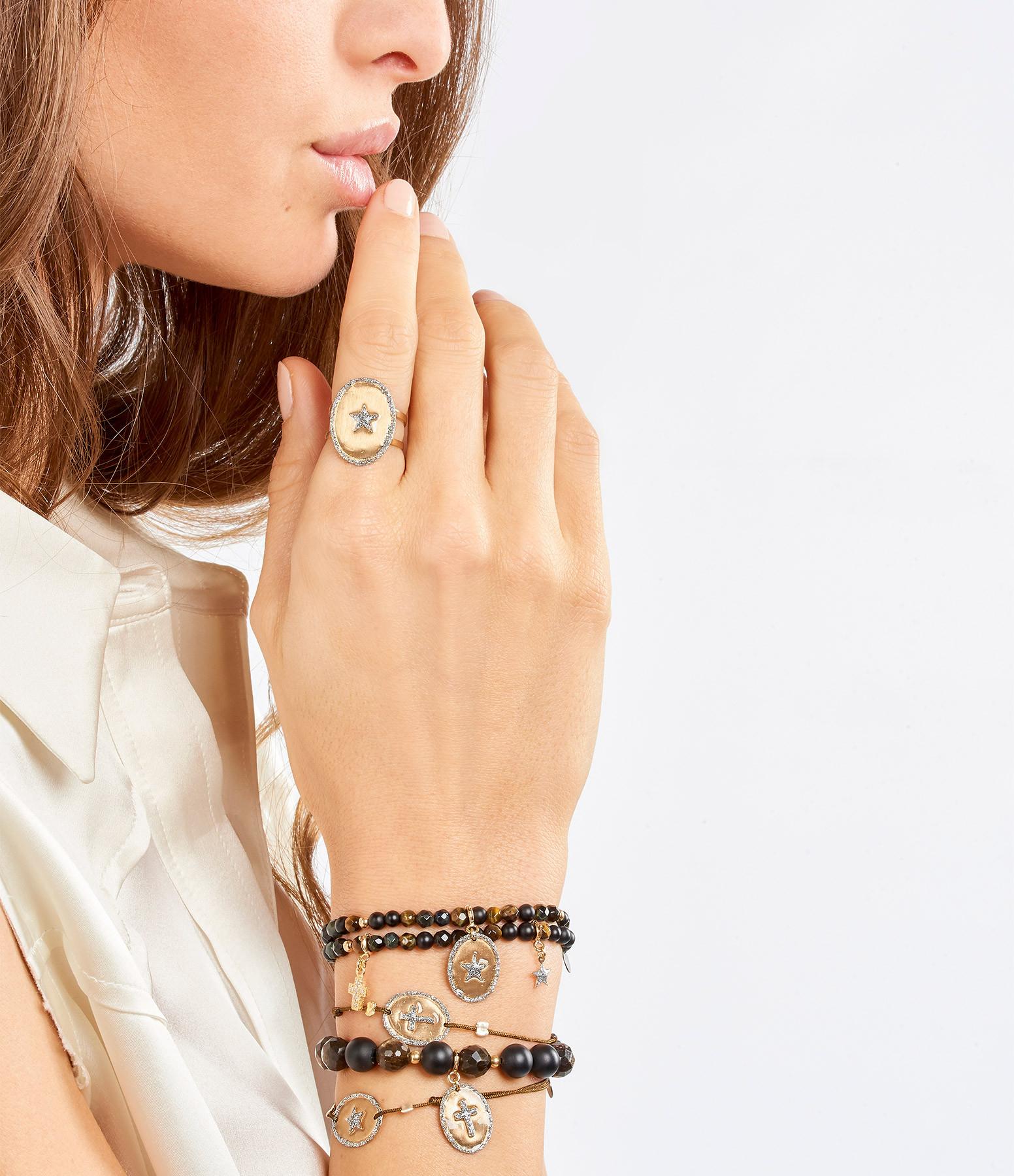 LSONGE - Bracelet Ovale Croix Argent Doré Cordon Taupe