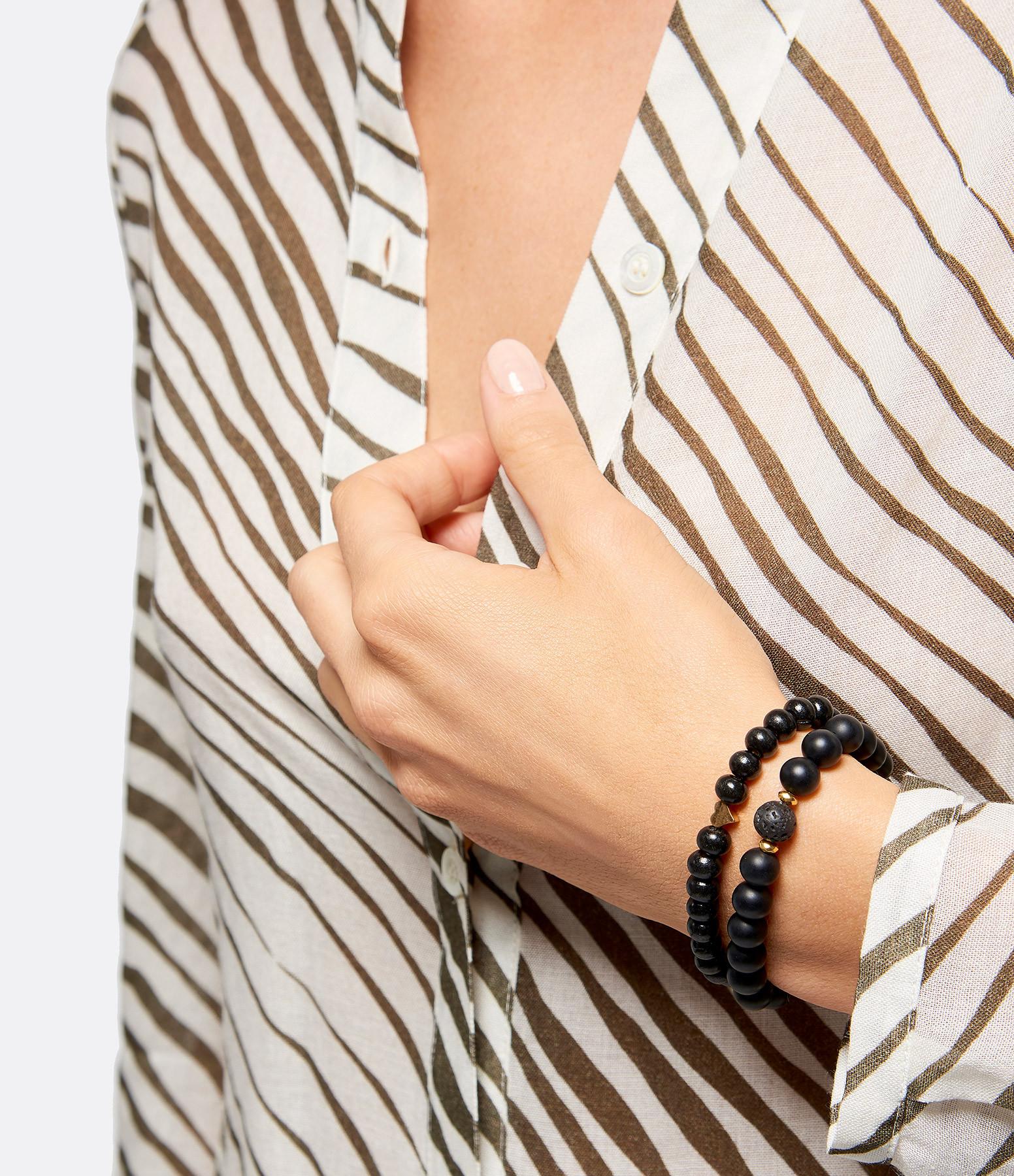 MI CIELO LONDON - Bracelet Bois Pierre de Lave Coeur