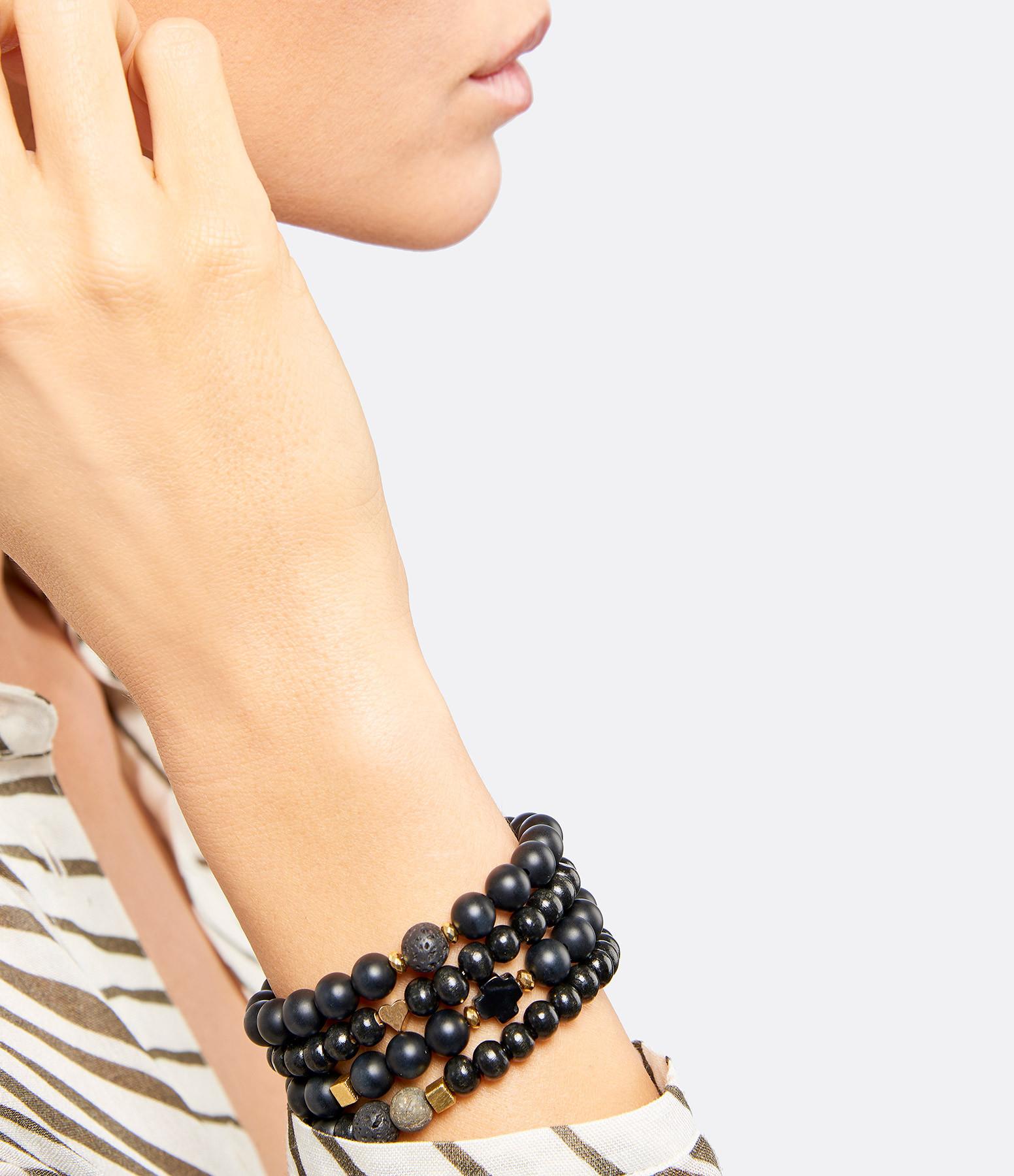 MI CIELO LONDON - Bracelet Bois Pierre de Lave Onyx