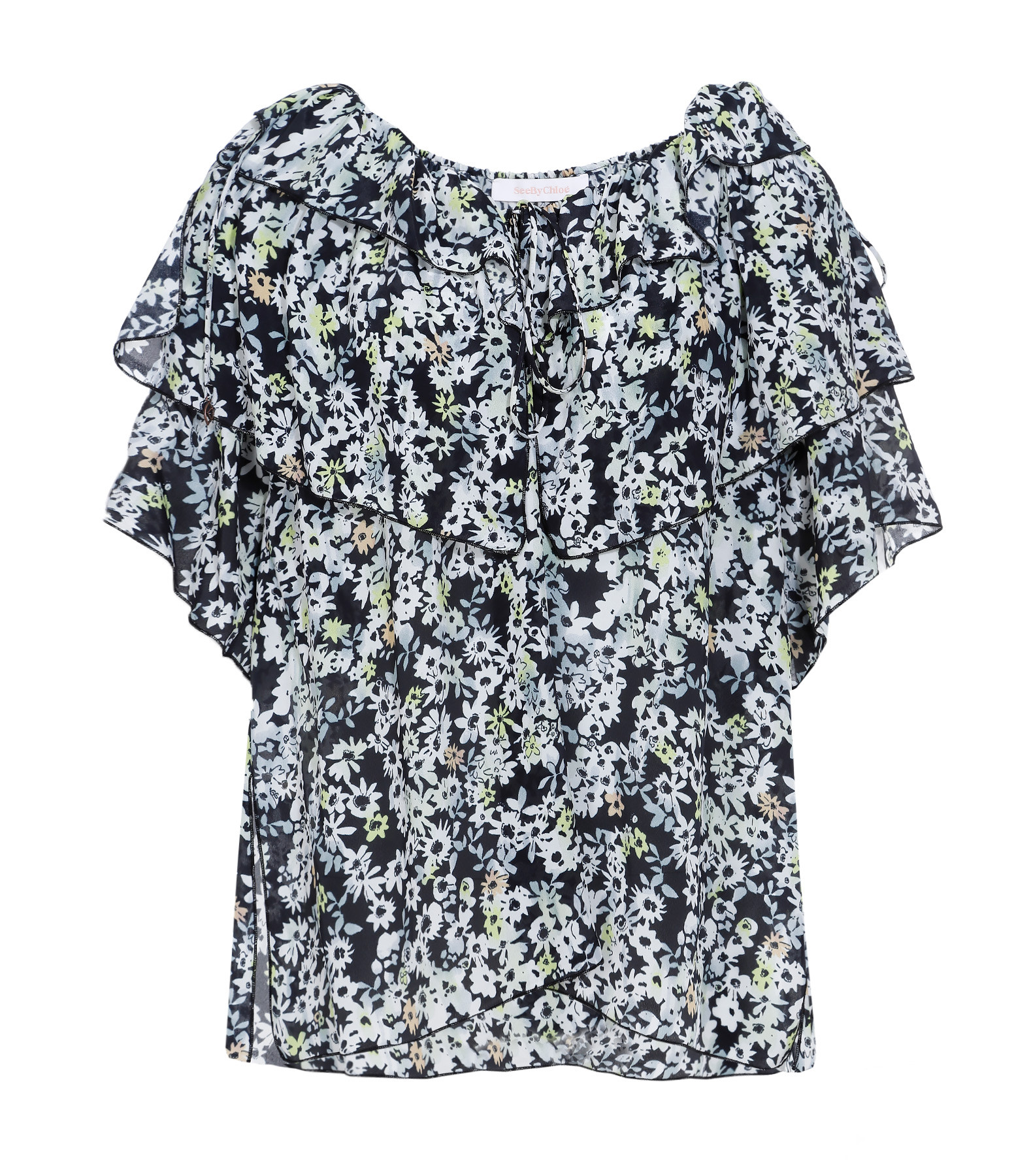 SEE BY CHLOE - Top Dentelle Volant Multicolore Gris