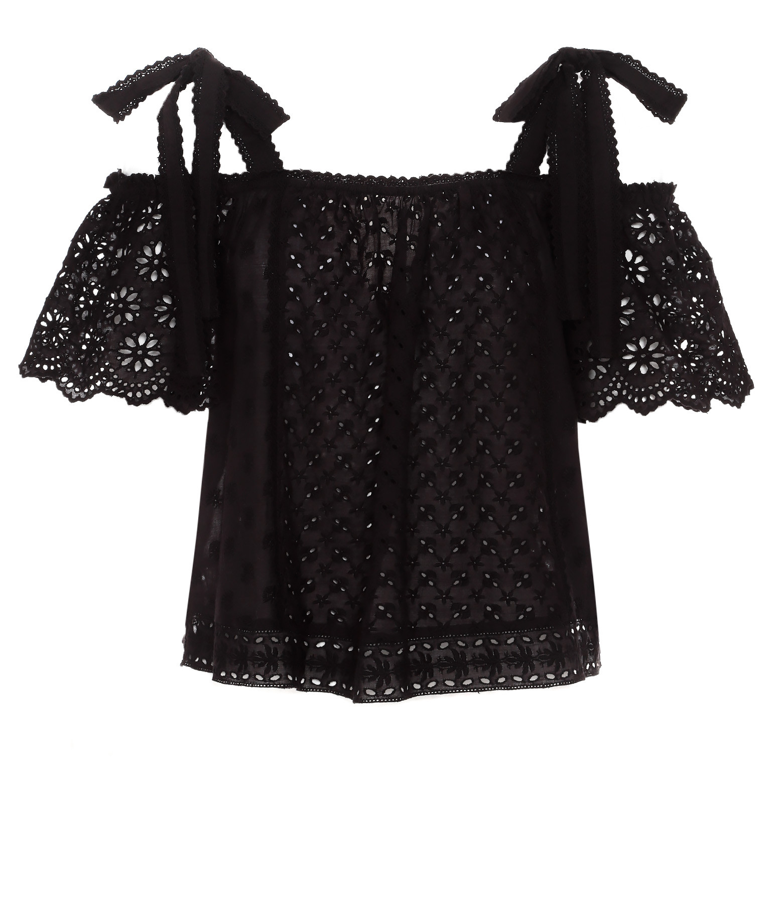 ULLA JOHNSON - Top Floral Patchwork Blythe Coton Noir