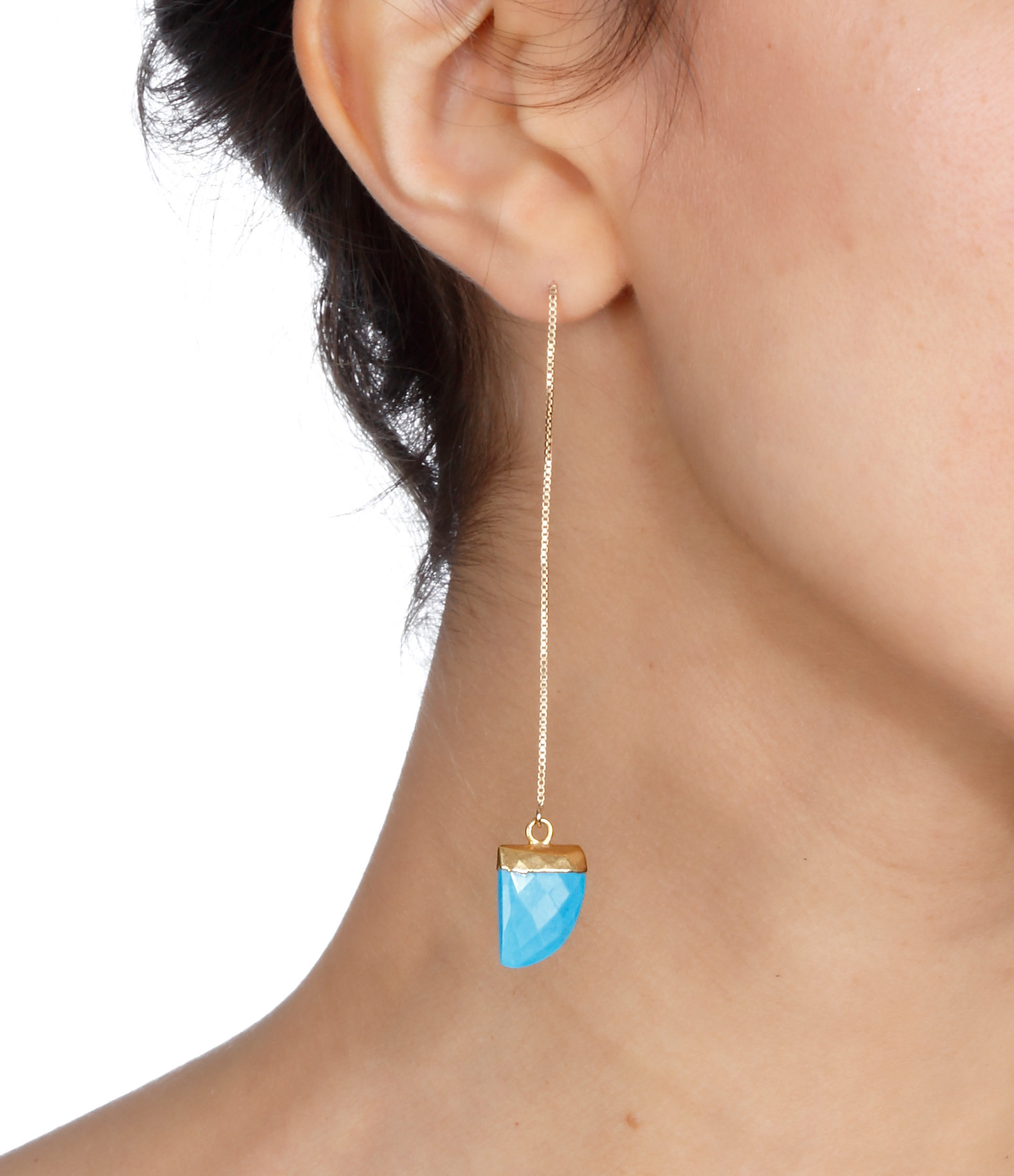 Boucle d'oreille Gold Filled Pierre Turquoise (vendue à l'unité) - SISTERSTONE
