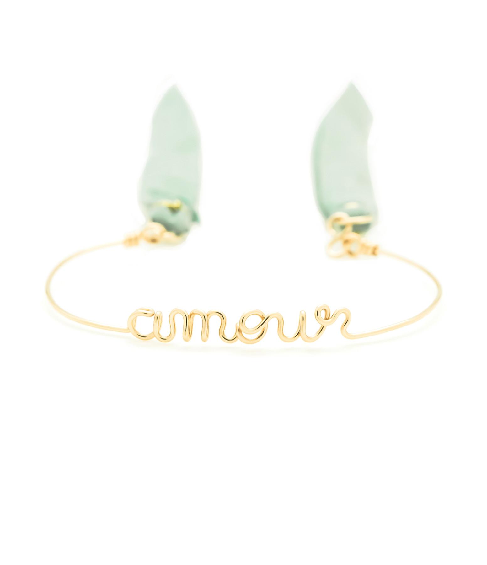 ATELIER PAULIN - Bracelet Fil Amour Liens Vert Noir Gold Filled 14K