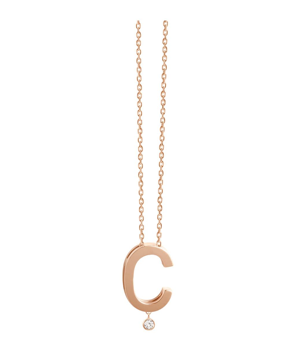 VANRYCKE - Collier Abécédaire Or Rose Diamant