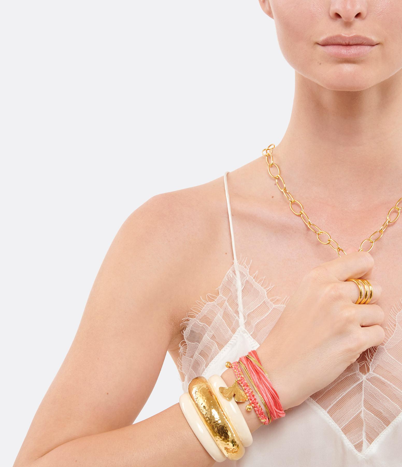 AURELIE BIDERMANN - Bracelet Honolulu Charm Ginkgo Rose Plaqué Or