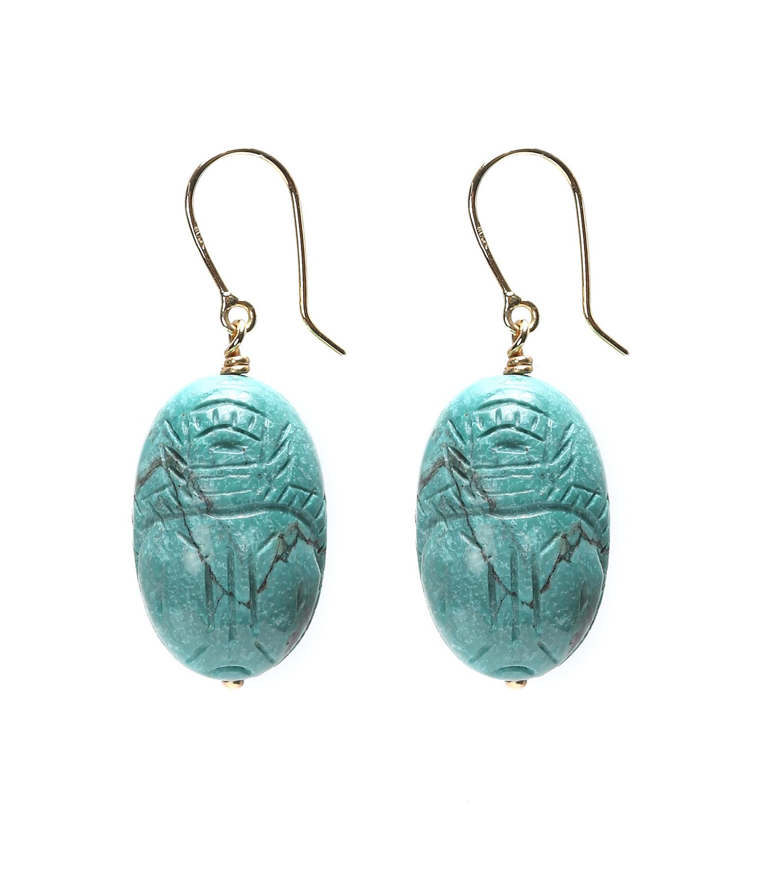 Boucles d'oreilles Scarabée Turquoise GM - AURELIE BIDERMANN