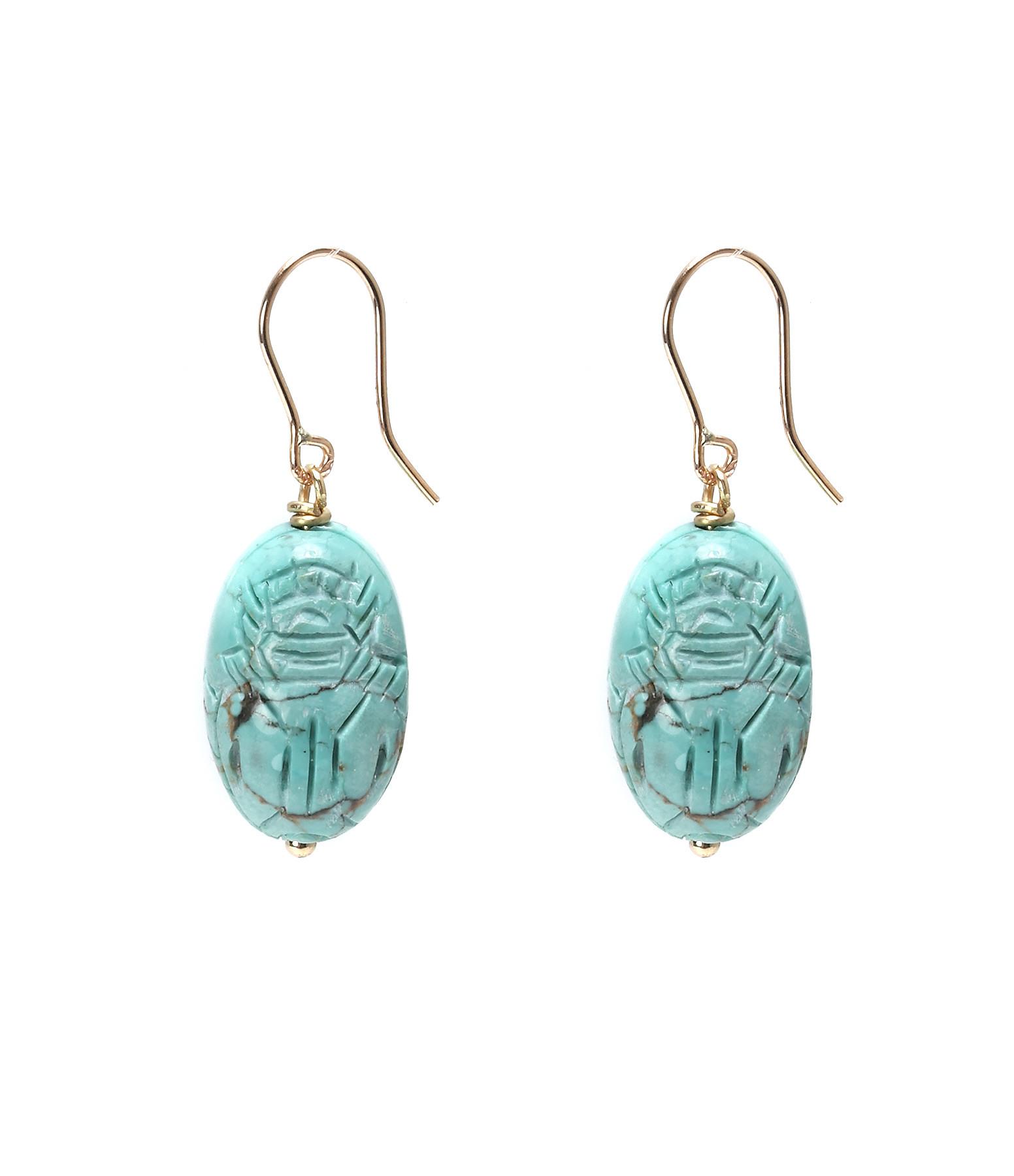 Boucles d'oreilles Scarabée Turquoise MM - AURELIE BIDERMANN