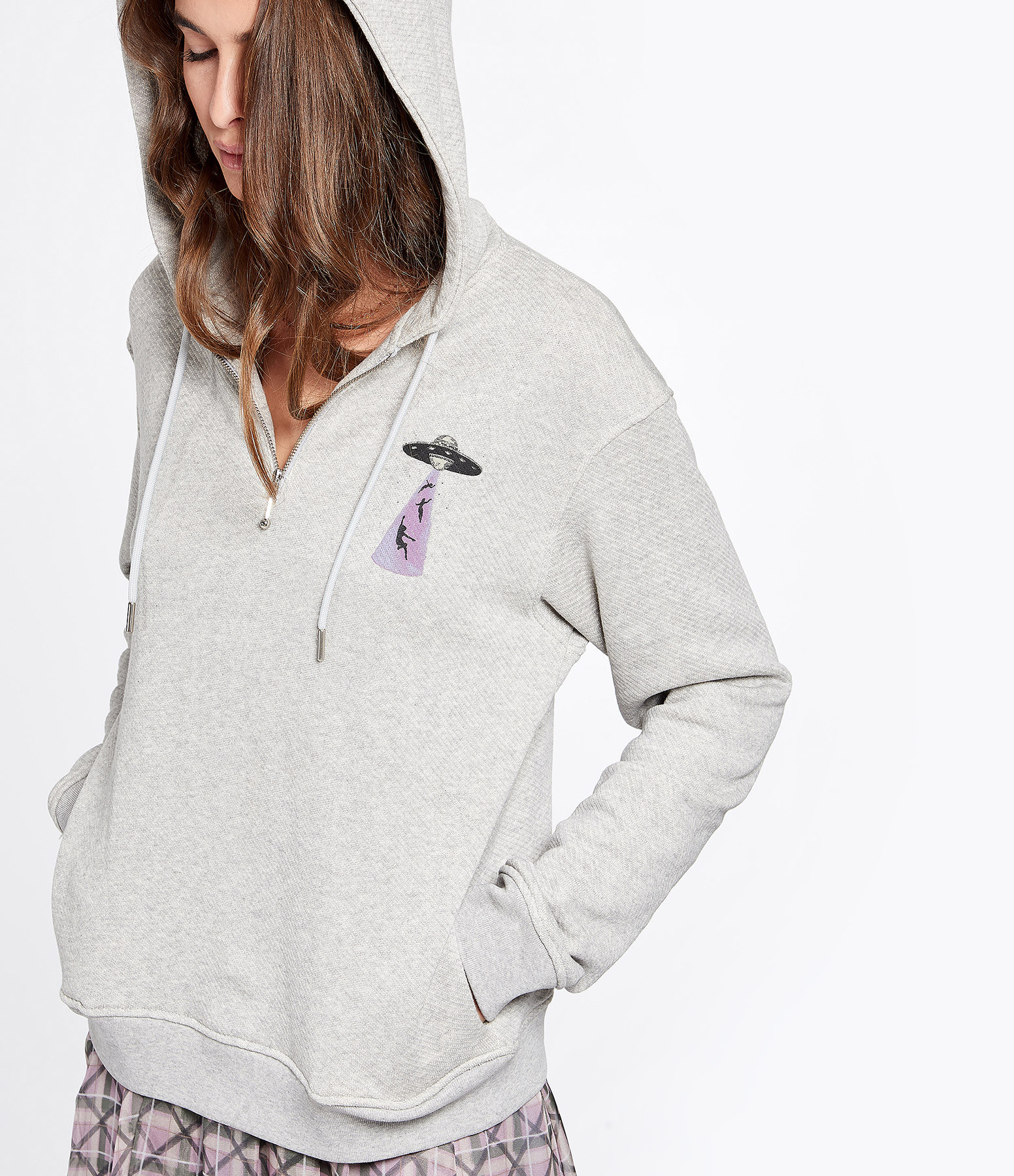 ALEXA CHUNG - Sweatshirt OVNI Coton Gris