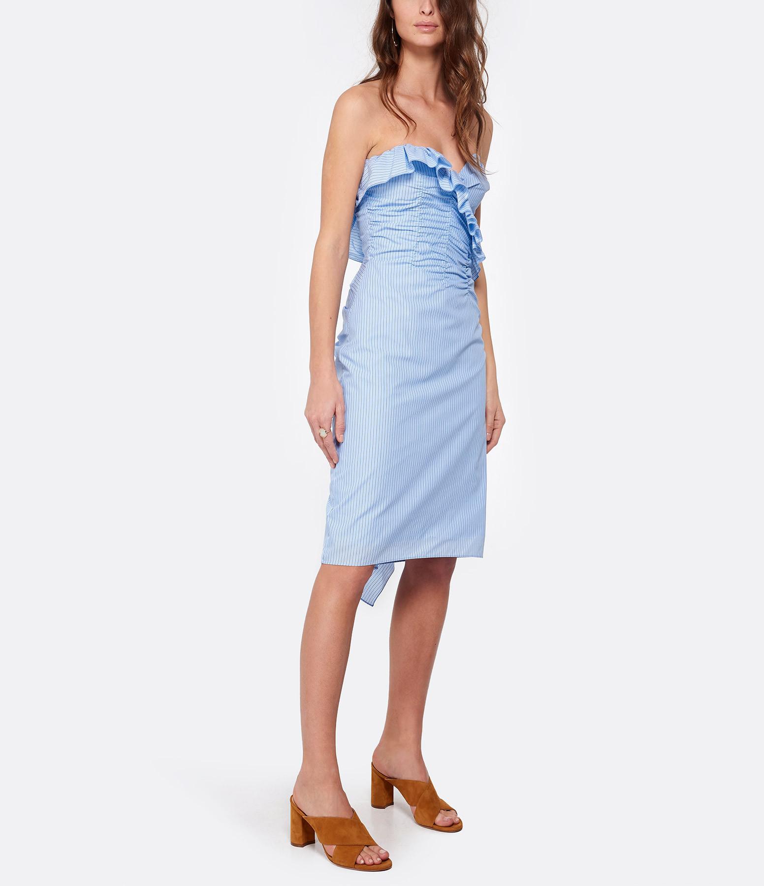 ALEXA CHUNG - Robe Bustier Rayures Bleu