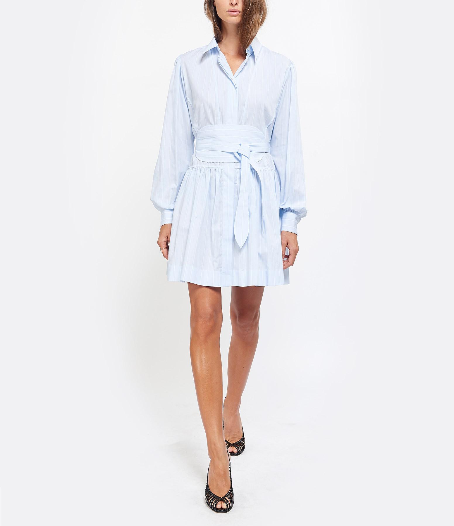 ALEXA CHUNG - Robe Chemise Rayures Coton Bleu