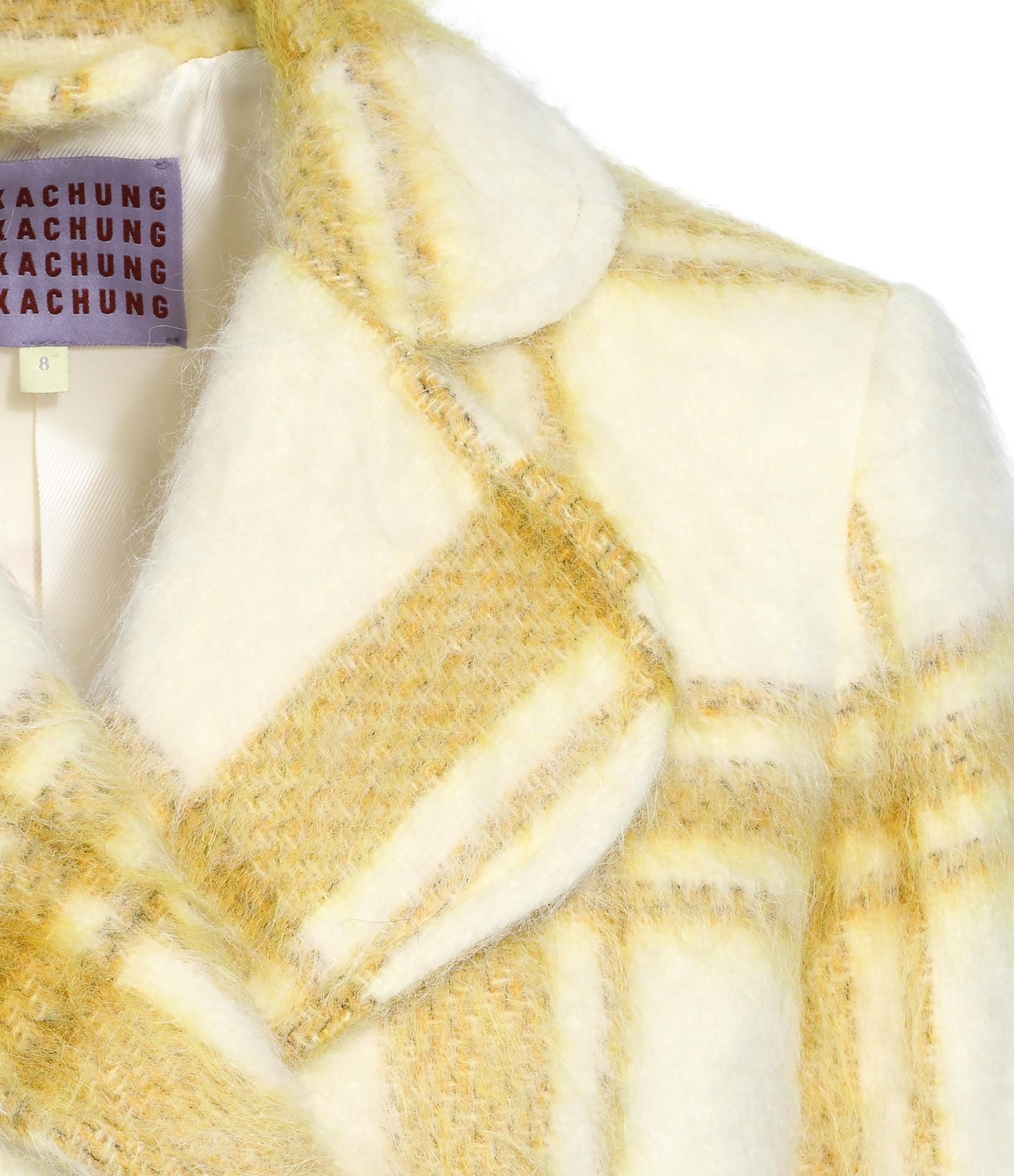 ALEXA CHUNG - Manteau Laine Mohair Carreaux Jaune Blanc
