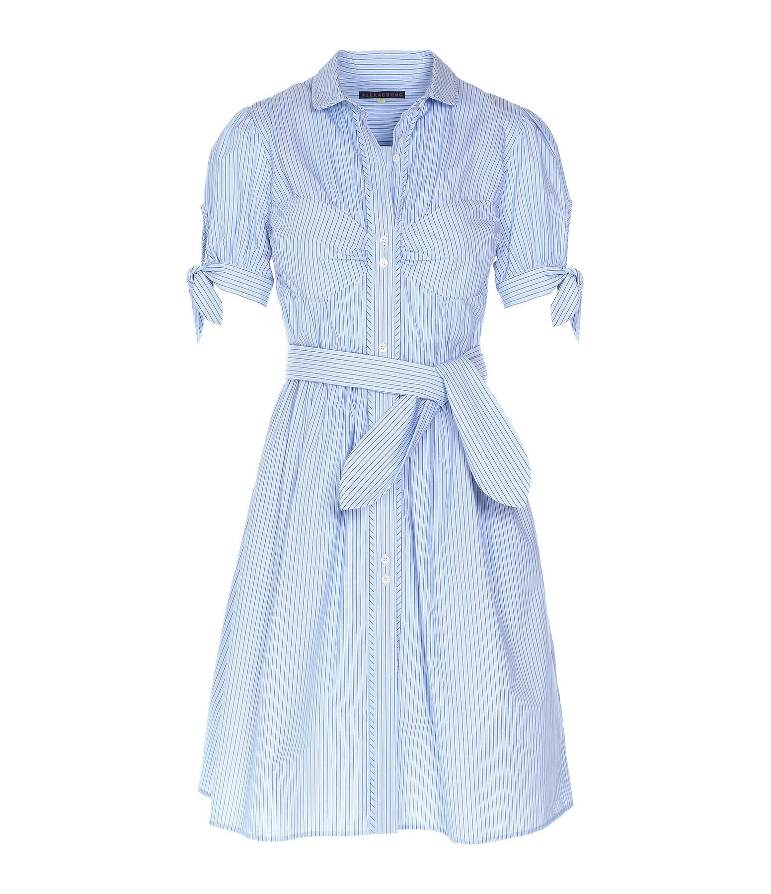 ALEXA CHUNG - Robe Noeud Rayures Bleu
