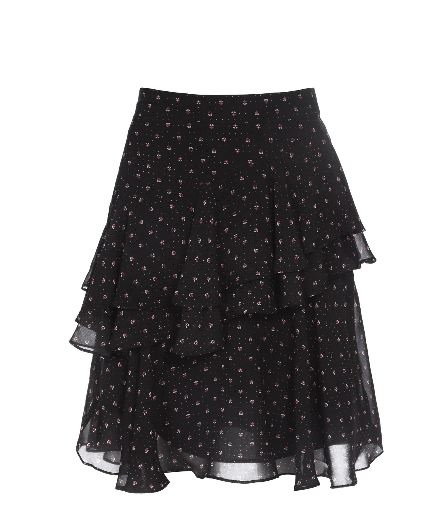 ALEXA CHUNG - Jupe Volants Imprimé Noir