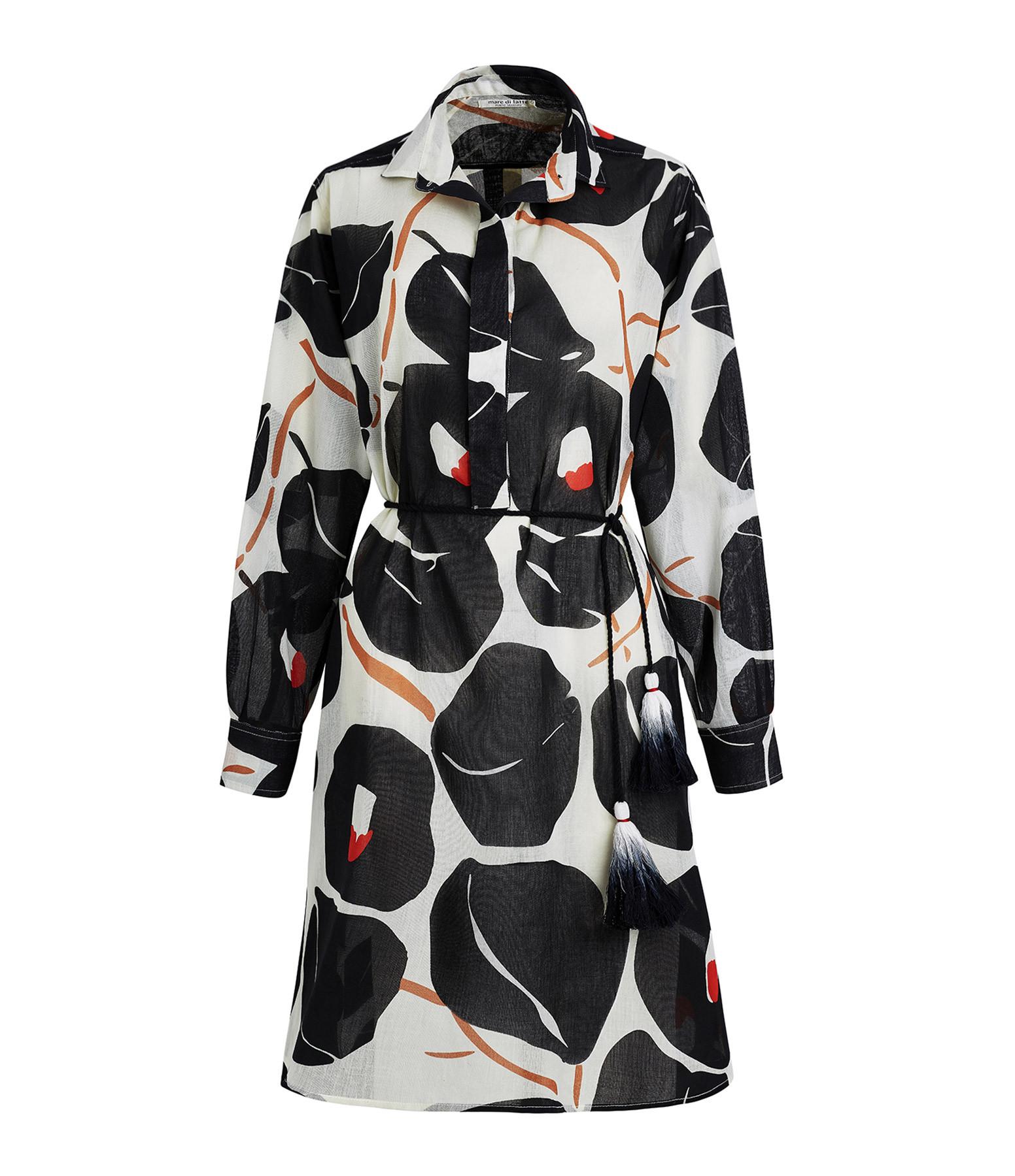 MARE DI LATTE - Robe Adea Coton Noir Imprimé Œillets