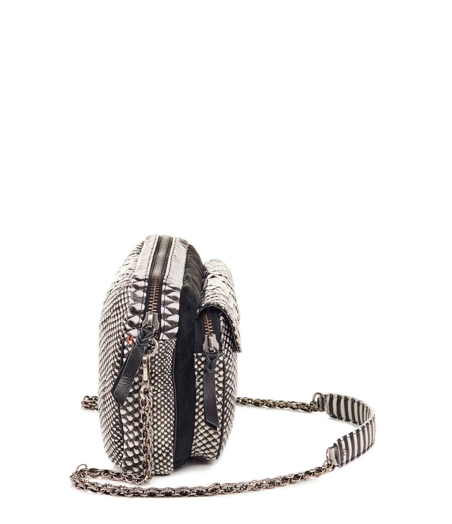 CLARIS VIROT - Sac Big Charly Python, Suédé Noir Blanc