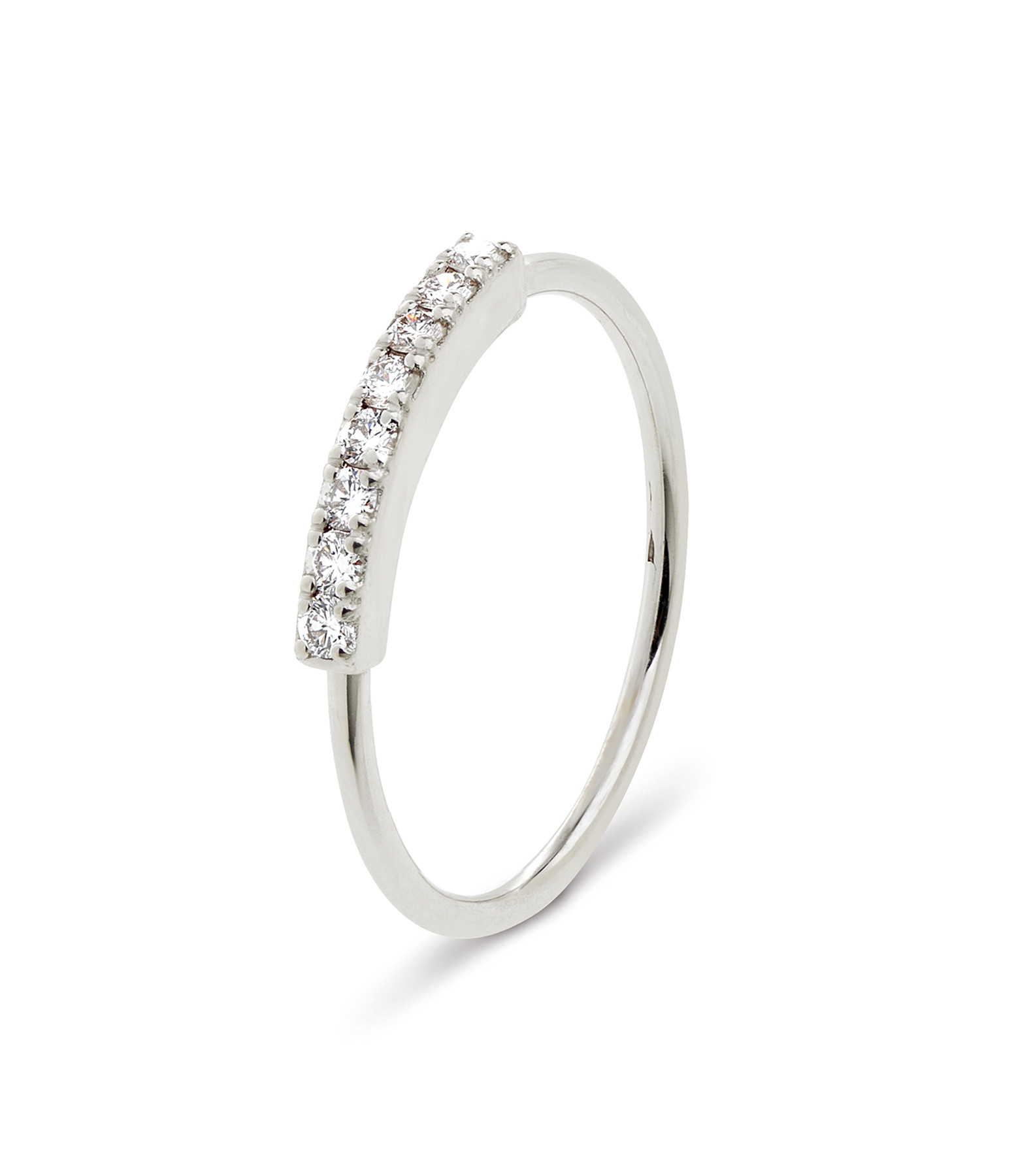NAVA JOAILLERIE - Bague Demi-Alliance Hash Diamants Or Blanc