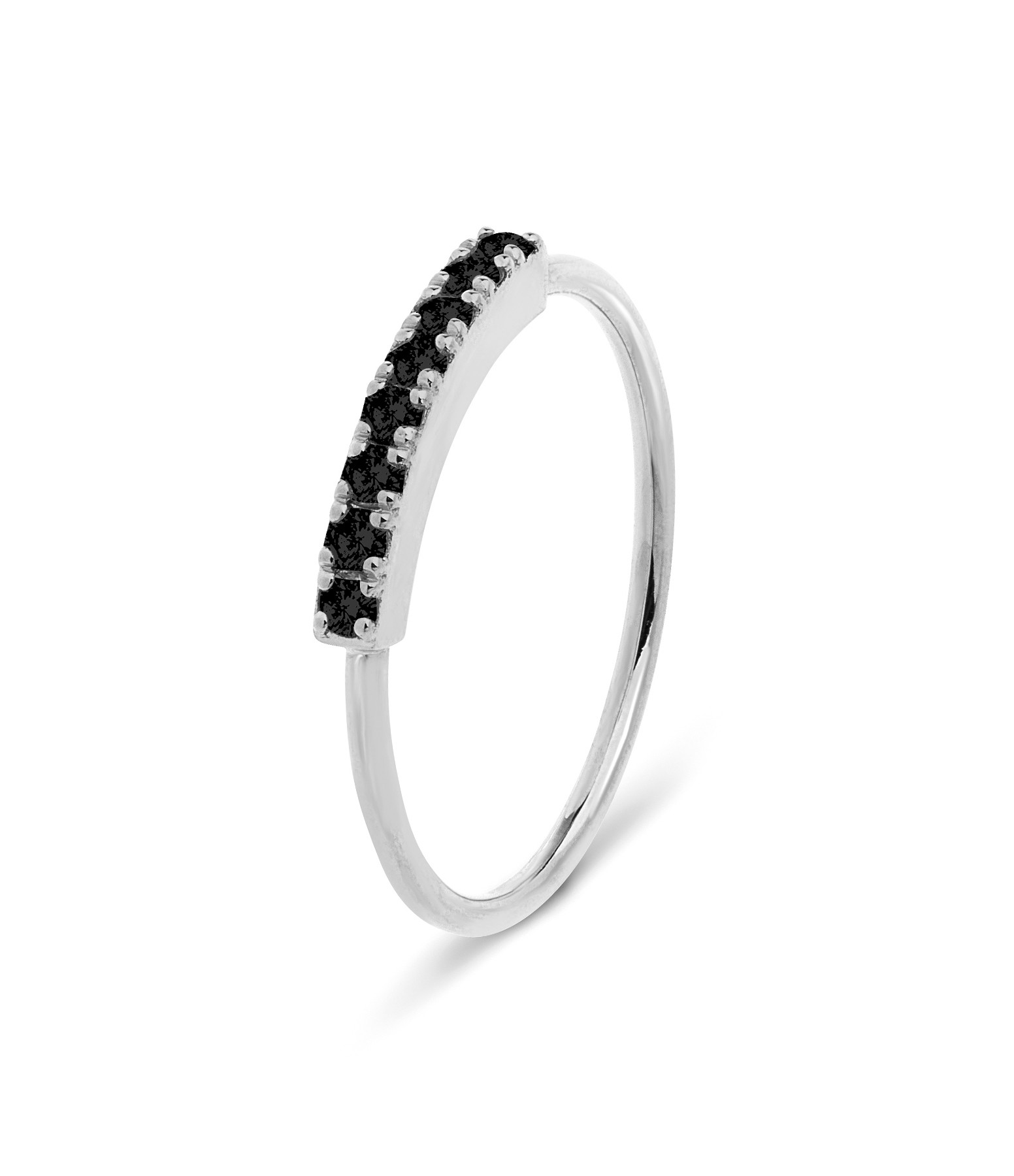 NAVA JOAILLERIE - Bague Demi-Alliance Hash Diamants Noirs Or Blanc
