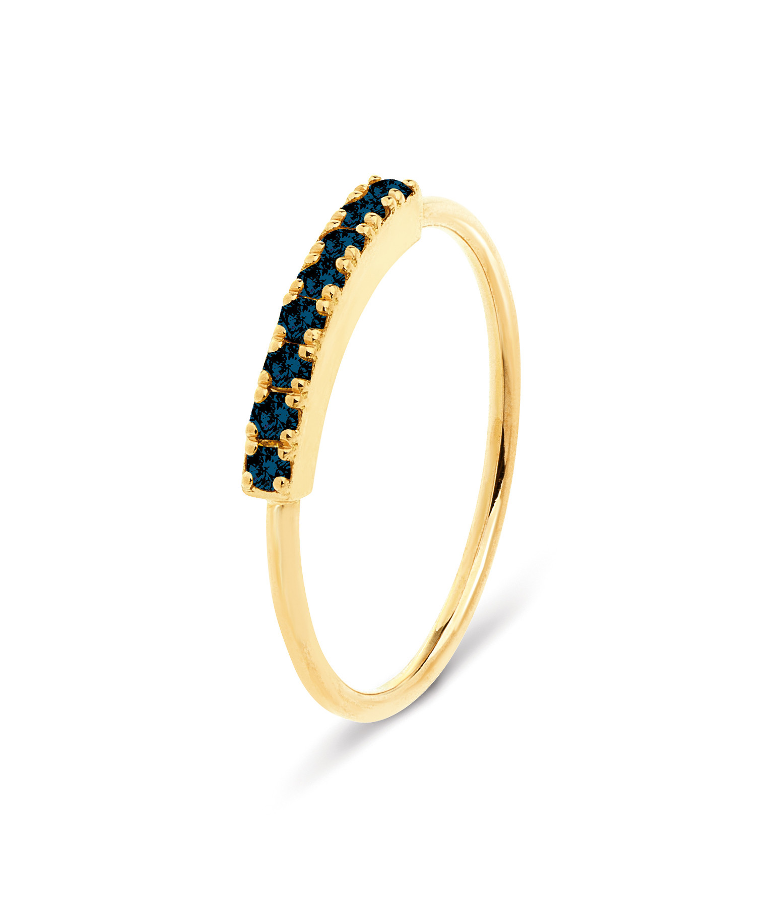 NAVA JOAILLERIE - Bague Demi-Alliance Hash Diamants Noirs Or Jaune