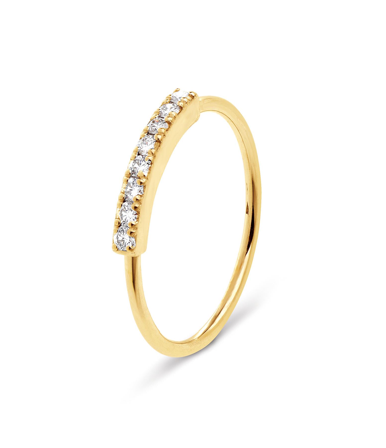 NAVA JOAILLERIE - Bague Demi-Alliance Hash Diamants Or Jaune