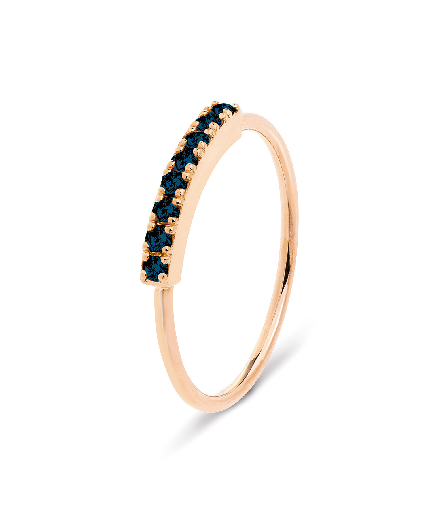 NAVA JOAILLERIE - Bague Demi-Alliance Hash Diamants Noirs Or Rose