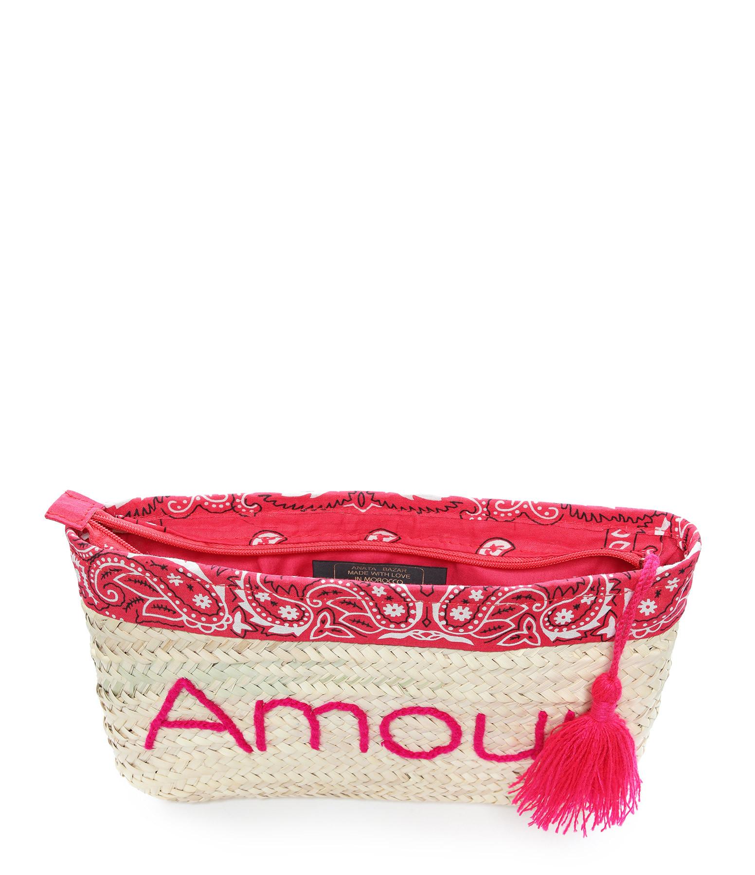 ANATA - Pochette Paille Amour Bandana Rose