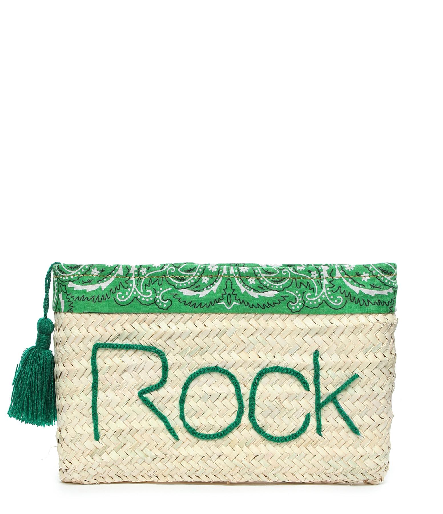 ANATA - Pochette Paille Rock Bandana Vert