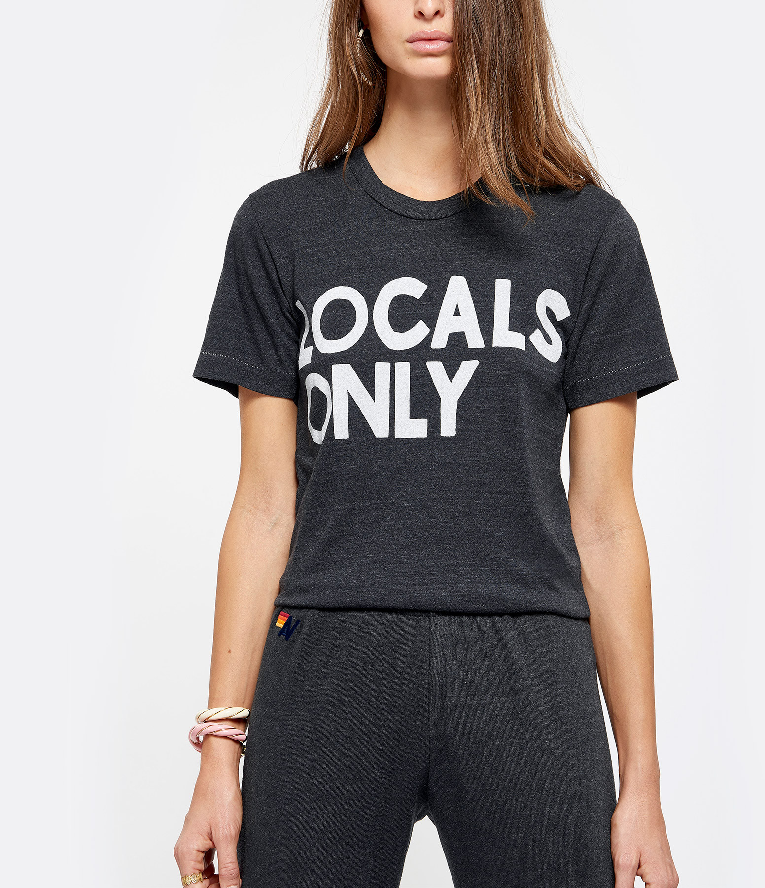 AVIATOR NATION - Tee-shirt Locals Coton Charbon